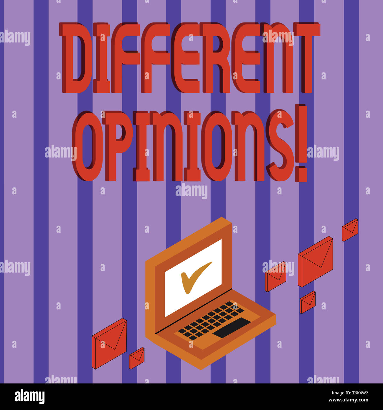 Word writing text Different Opinions. Business photo showcasing a conflict of opposed ideas or attitudes or goals Color Mail Envelopes around Laptop w - Stock Image