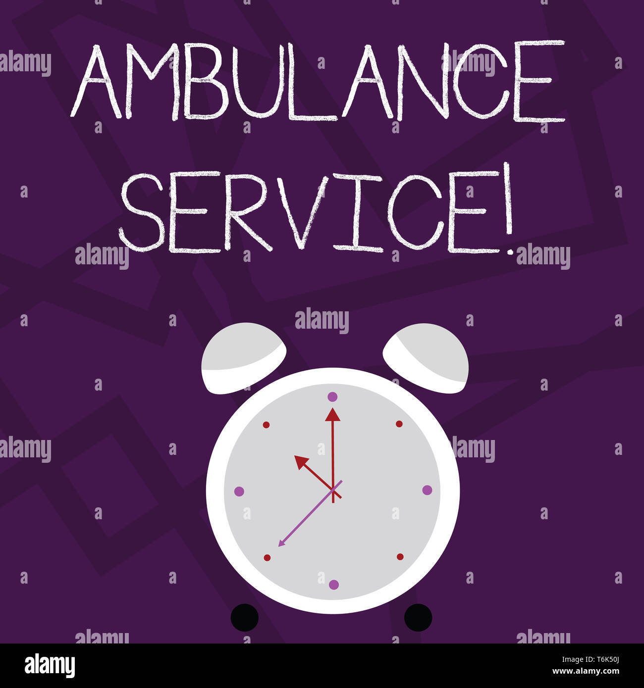 Writing note showing Ambulance Service. Business concept for emergency response wing of the National Health Service Colorful Round Analog Two Bell Ala - Stock Image
