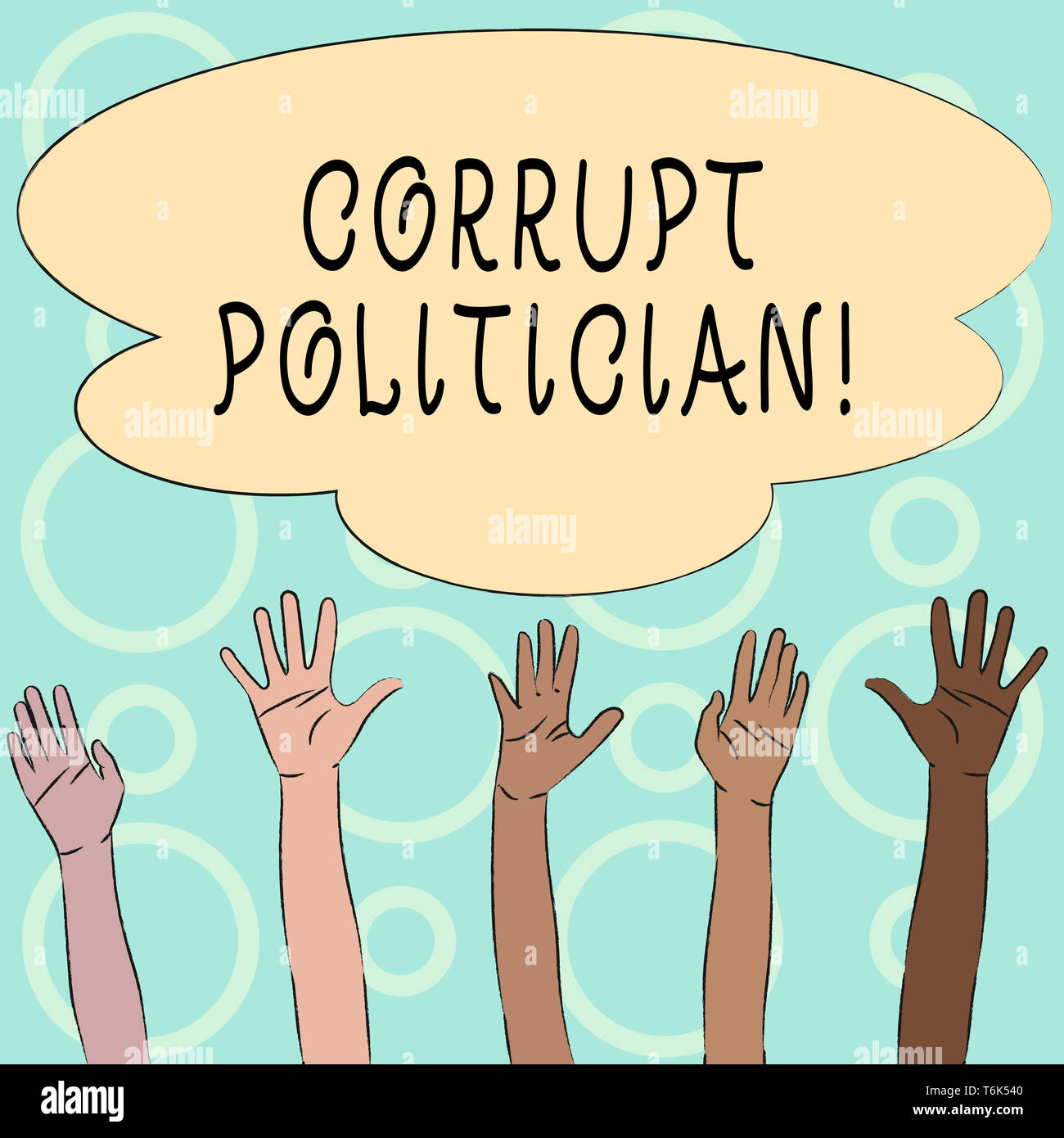 Conceptual hand writing showing Corrupt Politician. Concept meaning a public leader who misuse of public authority and fund Multiracial Hands Raising  Stock Photo
