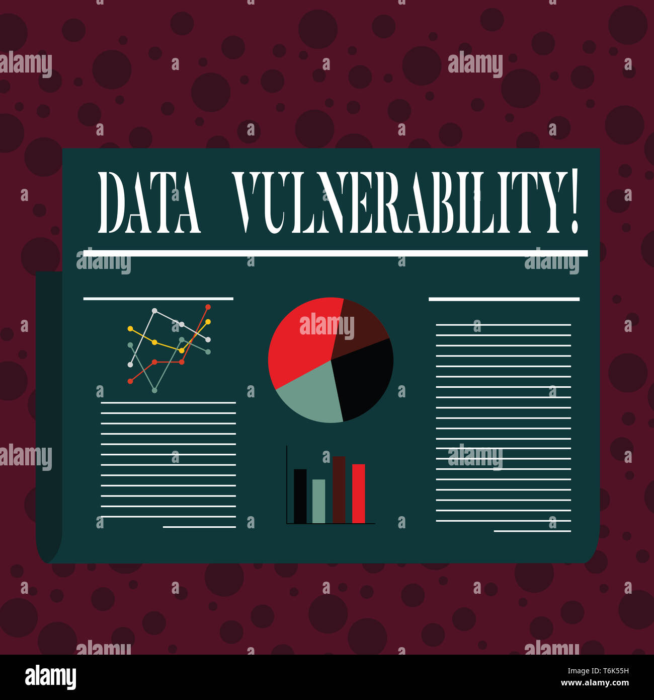Word writing text Data Vulnerability. Business photo showcasing weakness of a data which can be exploited by an attacker Colorful Layout Design Plan o - Stock Image