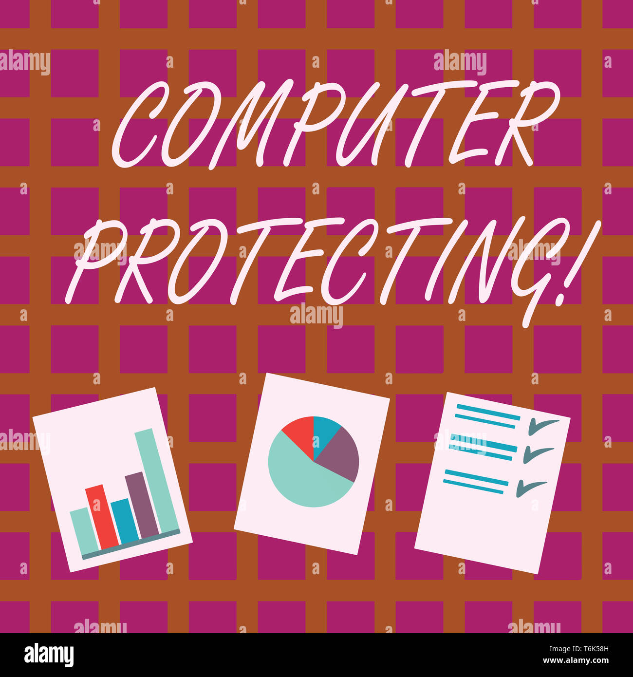 Conceptual hand writing showing Computer Protecting. Concept meaning protecting computer against unauthorized intrusions Presentation of Bar, Data and Stock Photo