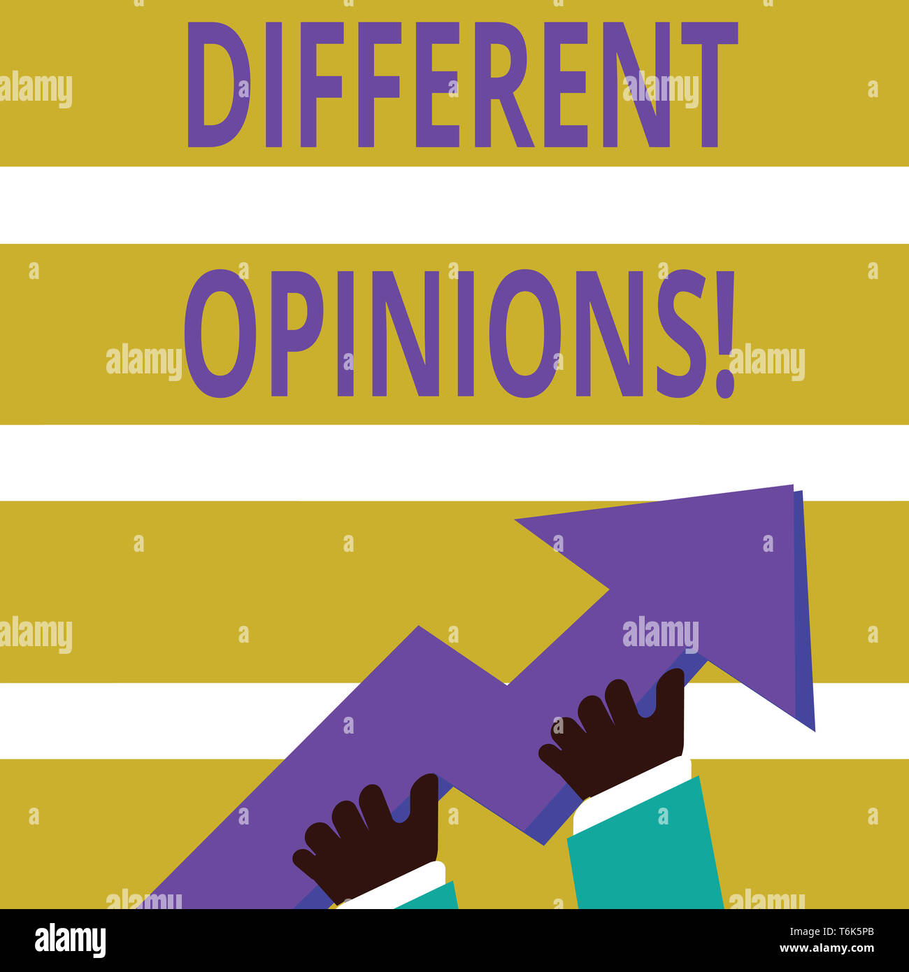 Writing note showing Different Opinions. Business concept for a conflict of opposed ideas or attitudes or goals photo of Hand Holding Colorful Huge 3D - Stock Image