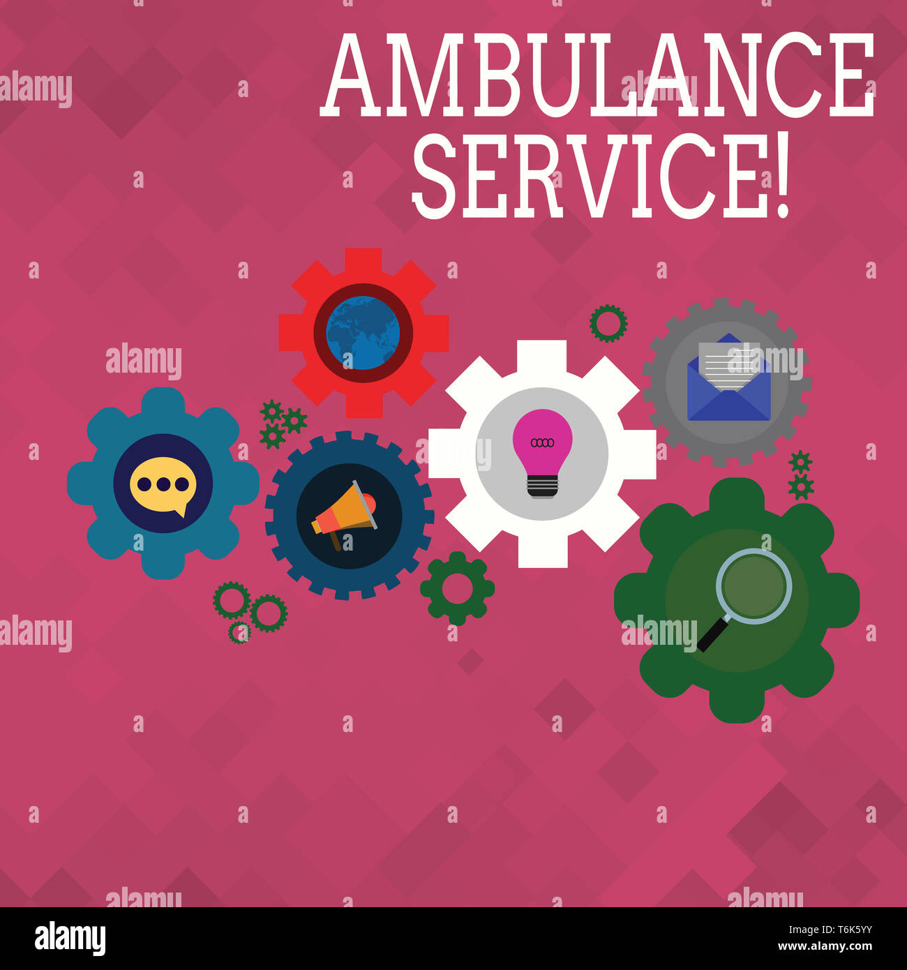 Text sign showing Ambulance Service. Business photo text emergency response wing of the National Health Service Set of Global Online Social Networking - Stock Image