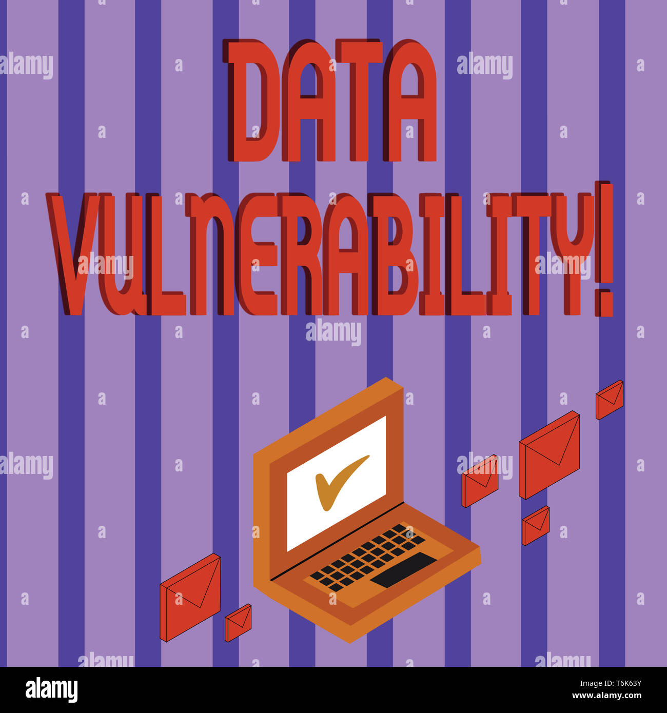 Word writing text Data Vulnerability. Business photo showcasing weakness of a data which can be exploited by an attacker Color Mail Envelopes around L - Stock Image