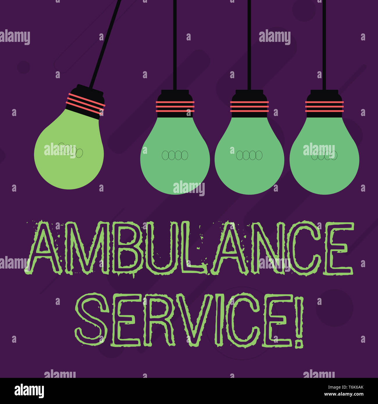 Writing note showing Ambulance Service. Business concept for emergency response wing of the National Health Service Color Pendant Bulb Hanging with On - Stock Image