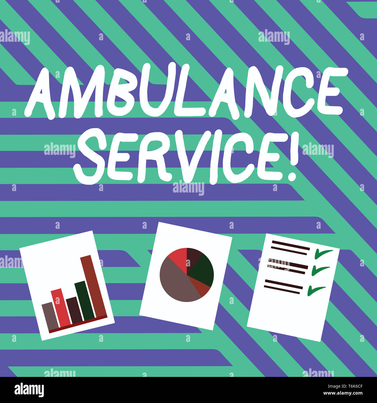 Conceptual hand writing showing Ambulance Service. Concept meaning emergency response wing of the National Health Service Presentation of Bar, Data an - Stock Image
