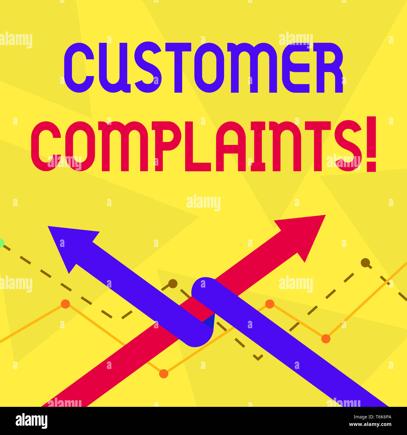Handwriting text Customer Complaints. Conceptual photo expression of dissatisfaction on a consumer s is behalf Two Arrows where One is Intertwined to  - Stock Image