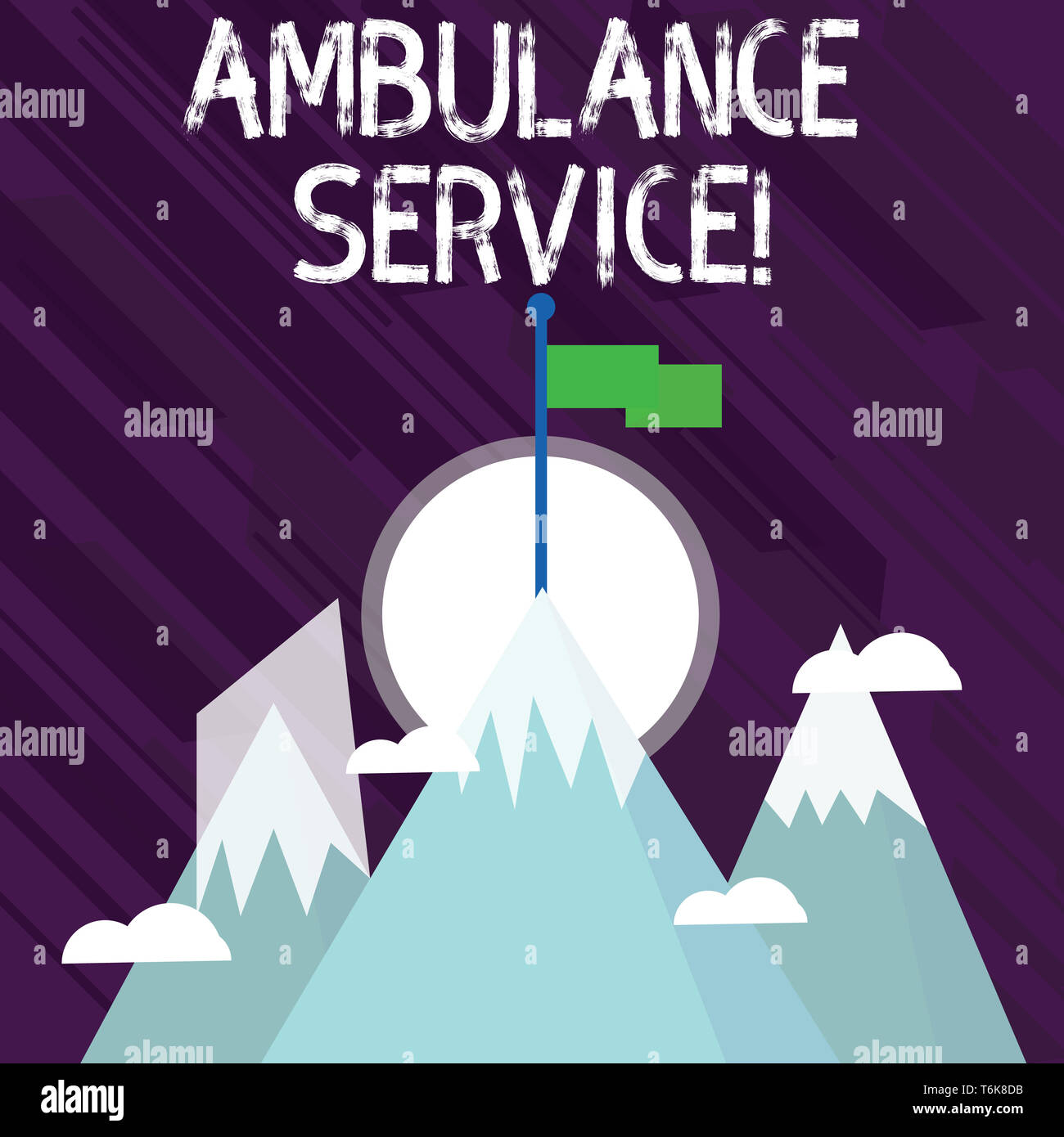Word writing text Ambulance Service. Business photo showcasing emergency response wing of the National Health Service Three High Mountains with Snow a - Stock Image