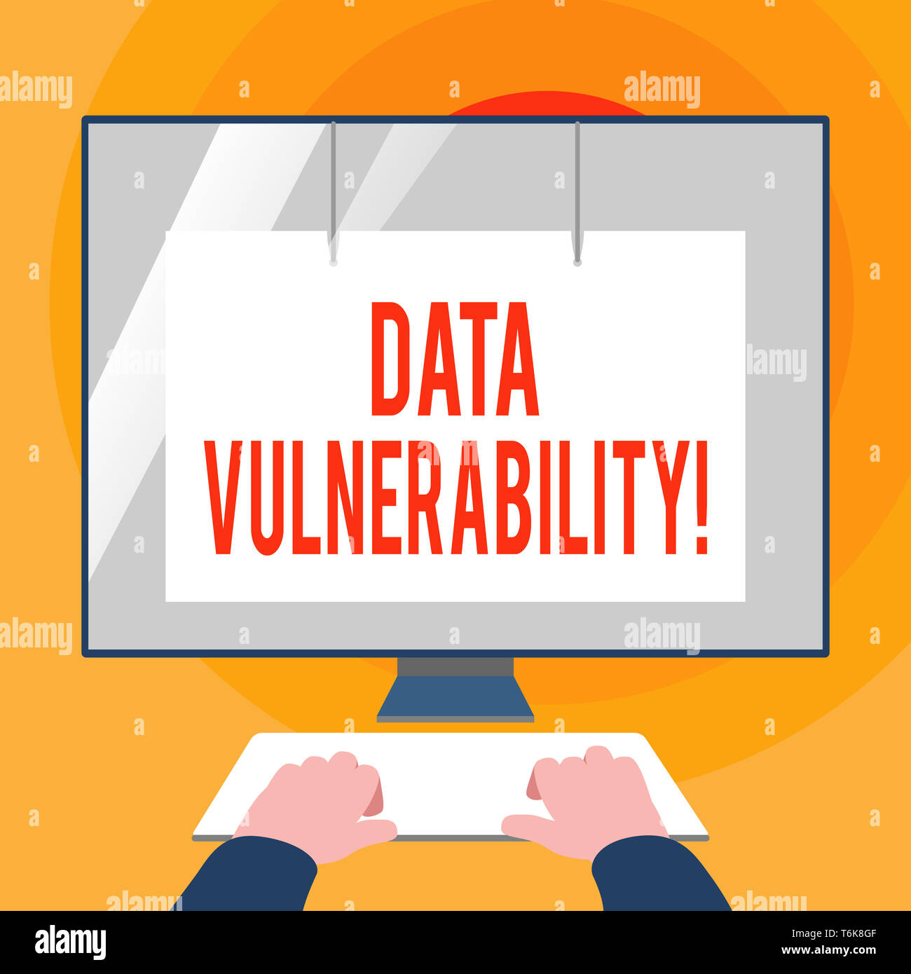 Word writing text Data Vulnerability. Business photo showcasing weakness of a data which can be exploited by an attacker Hands on Mockup Keyboard Fron - Stock Image