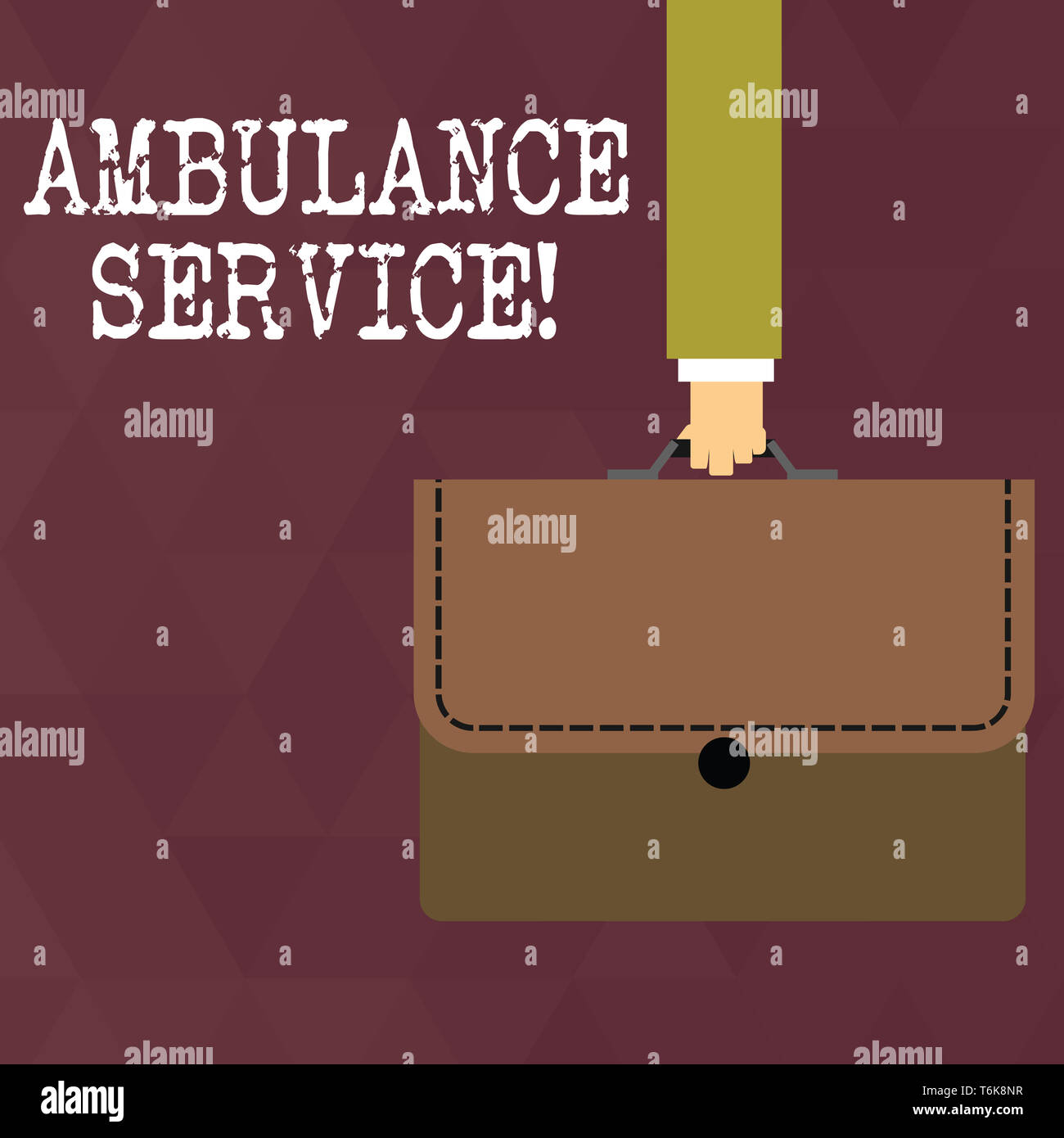 Writing note showing Ambulance Service. Business concept for emergency response wing of the National Health Service Businessman Carrying Colorful Brie - Stock Image