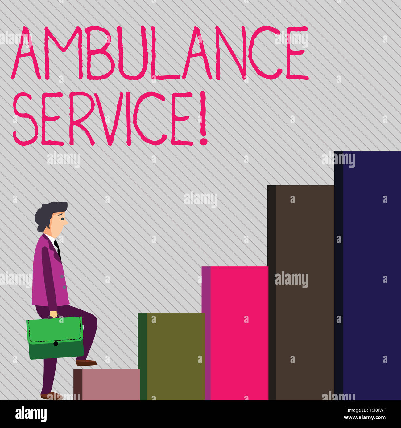 Conceptual hand writing showing Ambulance Service. Concept meaning emergency response wing of the National Health Service Man Carrying a Briefcase in  - Stock Image