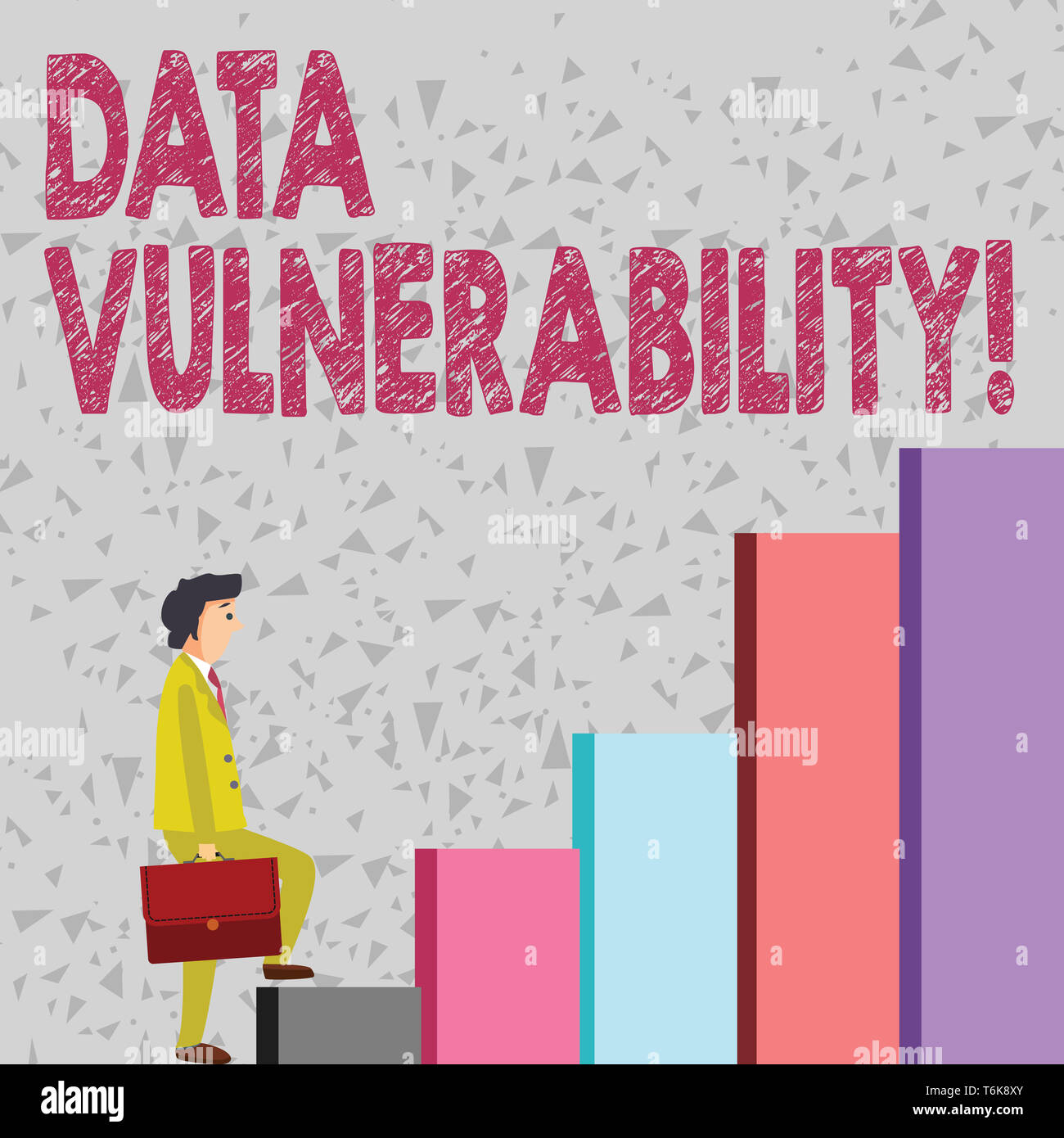 Handwriting text Data Vulnerability. Conceptual photo weakness of a data which can be exploited by an attacker Businessman Carrying a Briefcase is in  - Stock Image