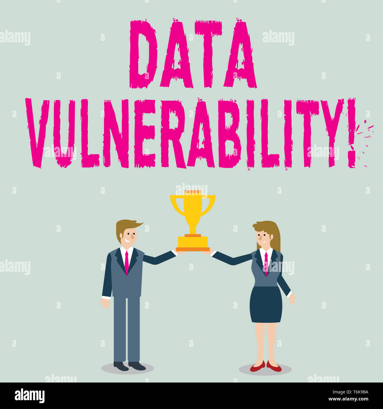 Word writing text Data Vulnerability. Business photo showcasing weakness of a data which can be exploited by an attacker Man and Woman in Business Sui - Stock Image