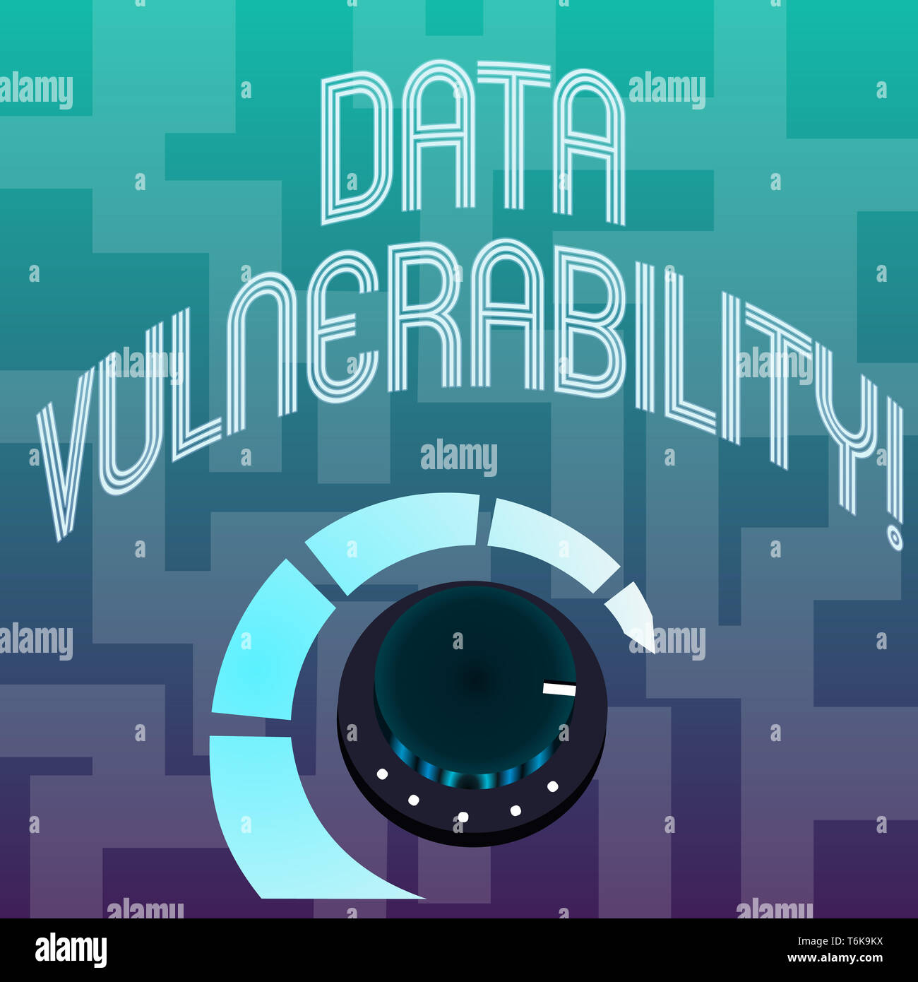 Text sign showing Data Vulnerability. Business photo text weakness of a data which can be exploited by an attacker Volume Control Metal Knob with Mark - Stock Image
