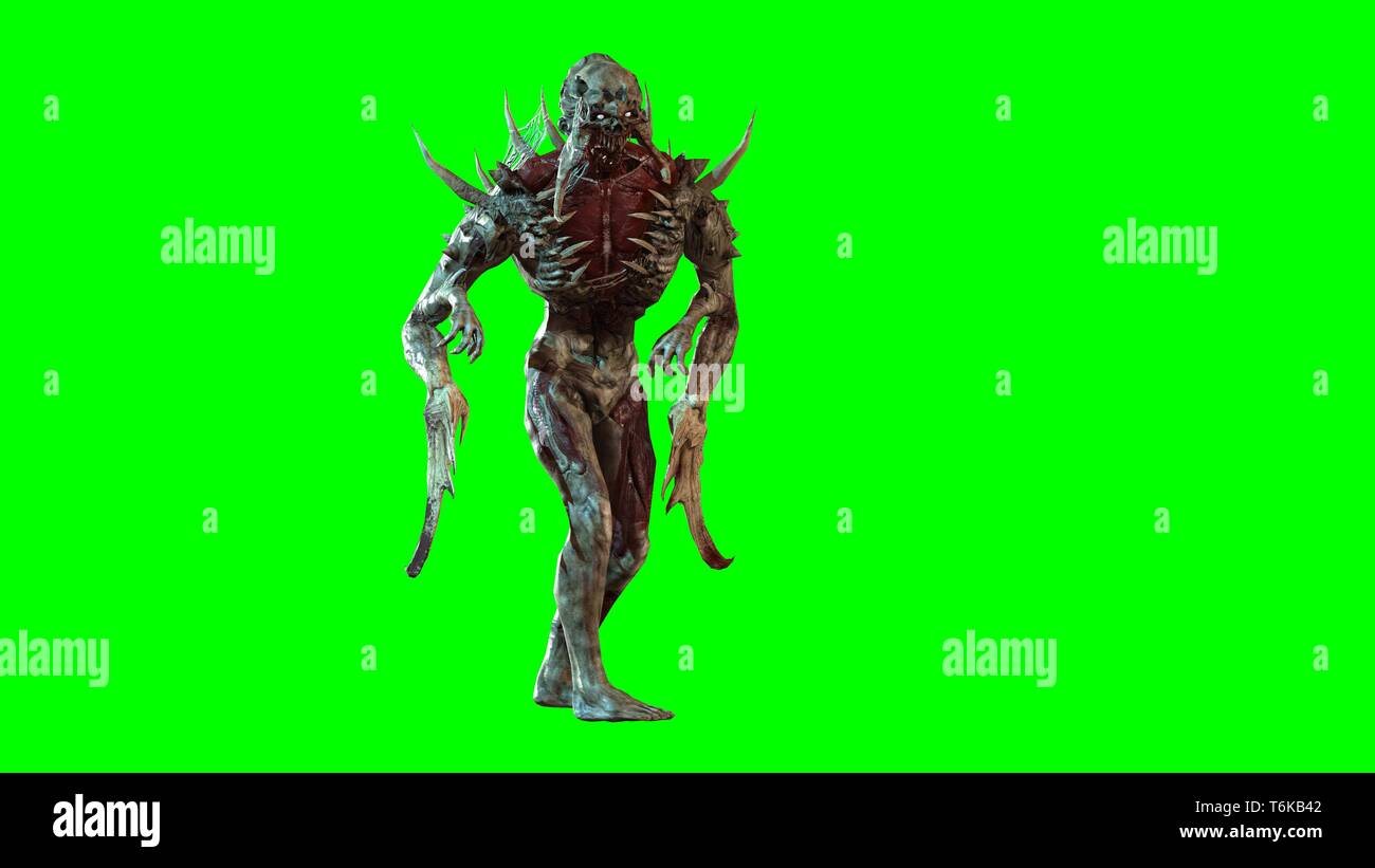 Nuclear post-apocalypse mutant soldier 3d render - Stock Image