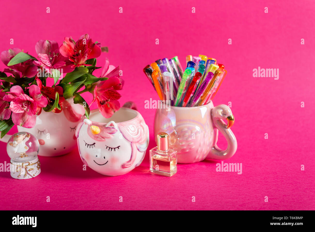 Girly Desk table or Office settings. Back to school concept - Stock Image
