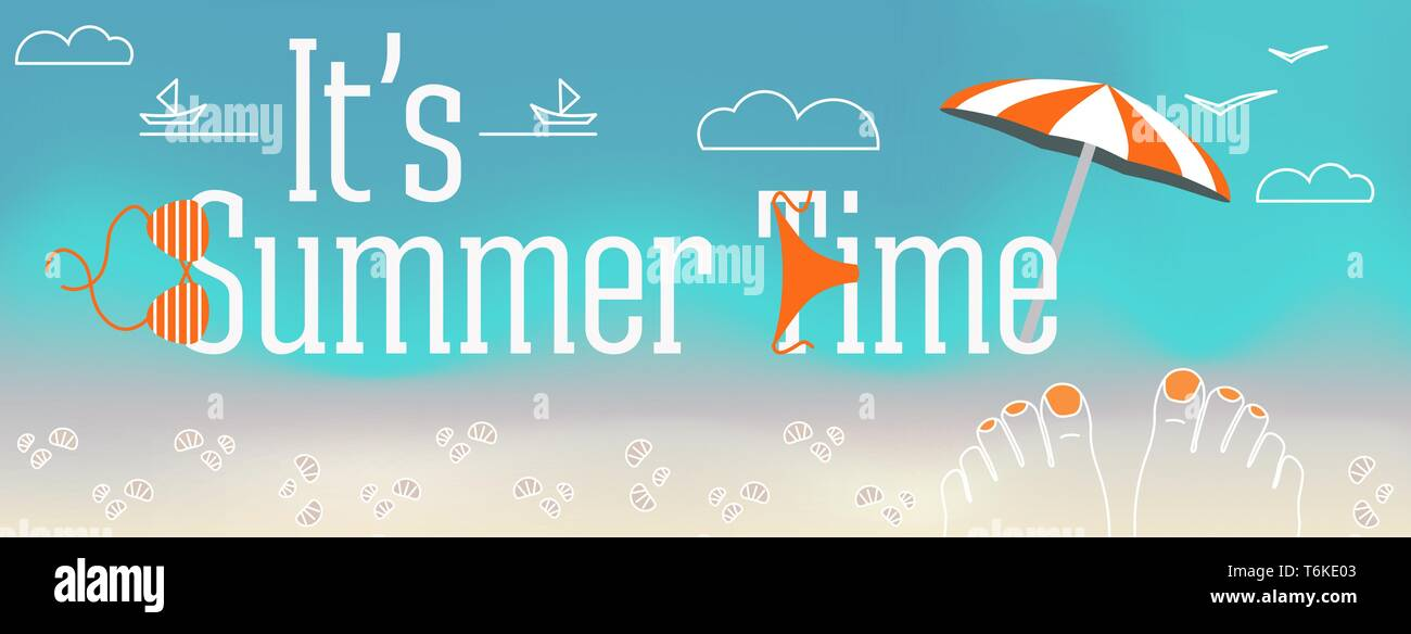 Vector design banner with text It's Summer time. Illustration of feet with nails, shells, swimsuit, parasol, sand, clouds, the beach elements on blue  - Stock Vector