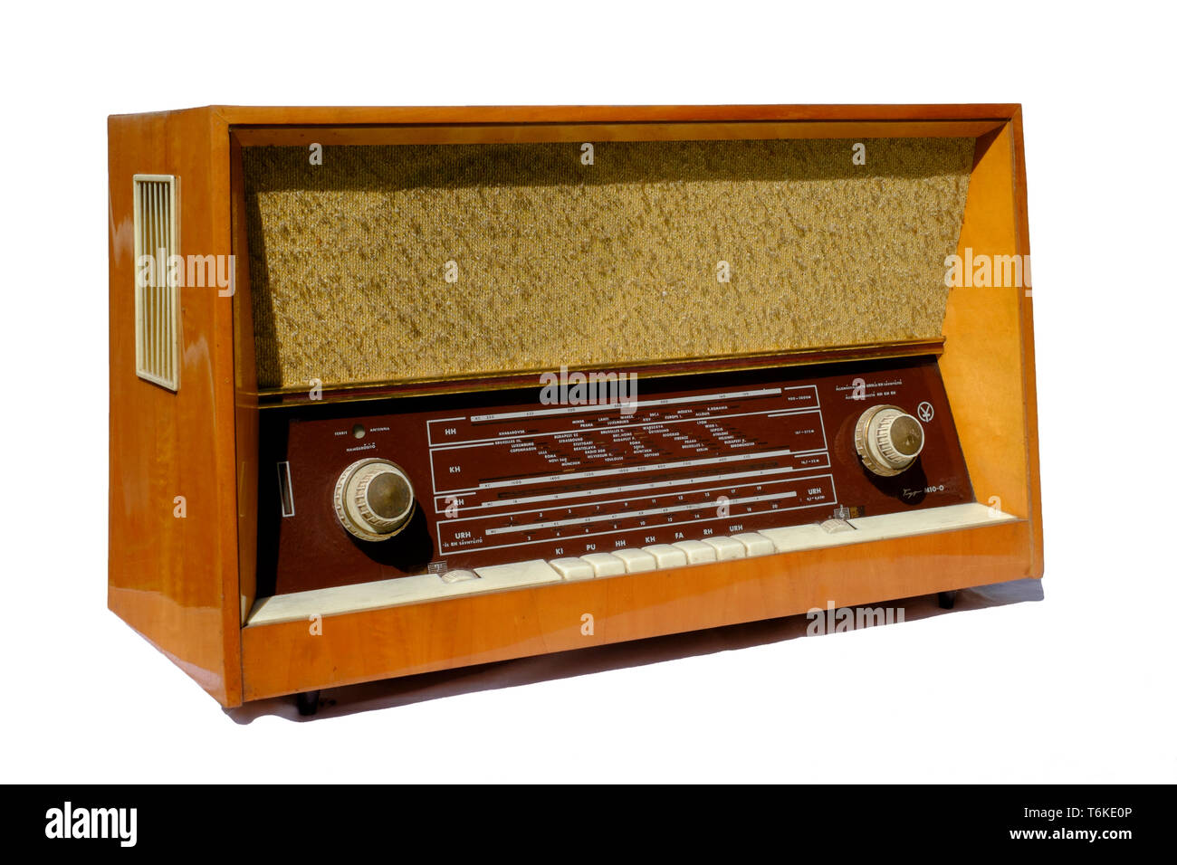 large vintage mono radio set on white background zala county hungary Stock Photo
