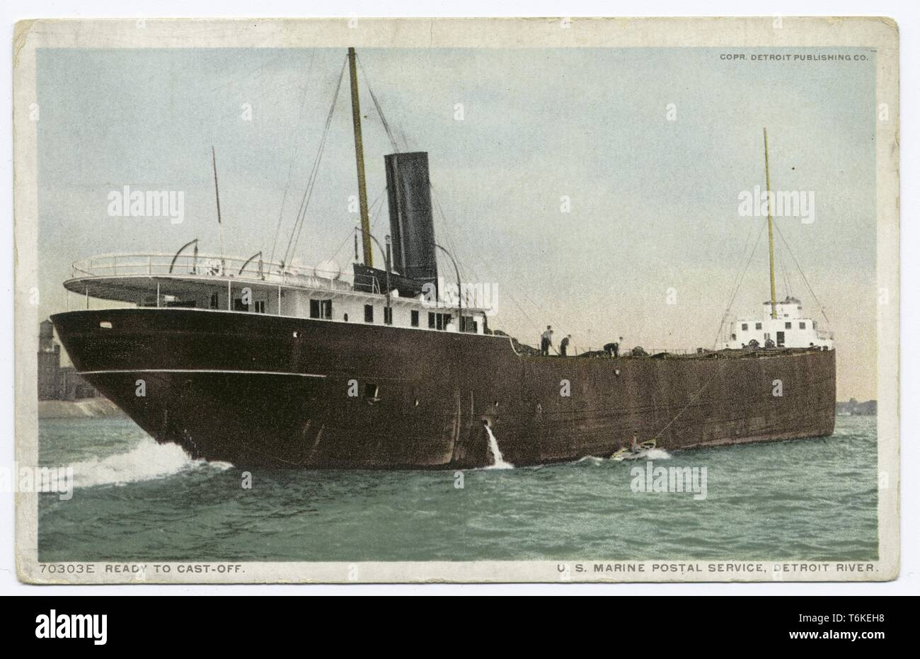 Detroit Publishing Company vintage postcard depicting a ship of the United States Marine Postal Service casting off onto the Detroit River from Detroit, Michigan, 1914. From the New York Public Library. () Stock Photo