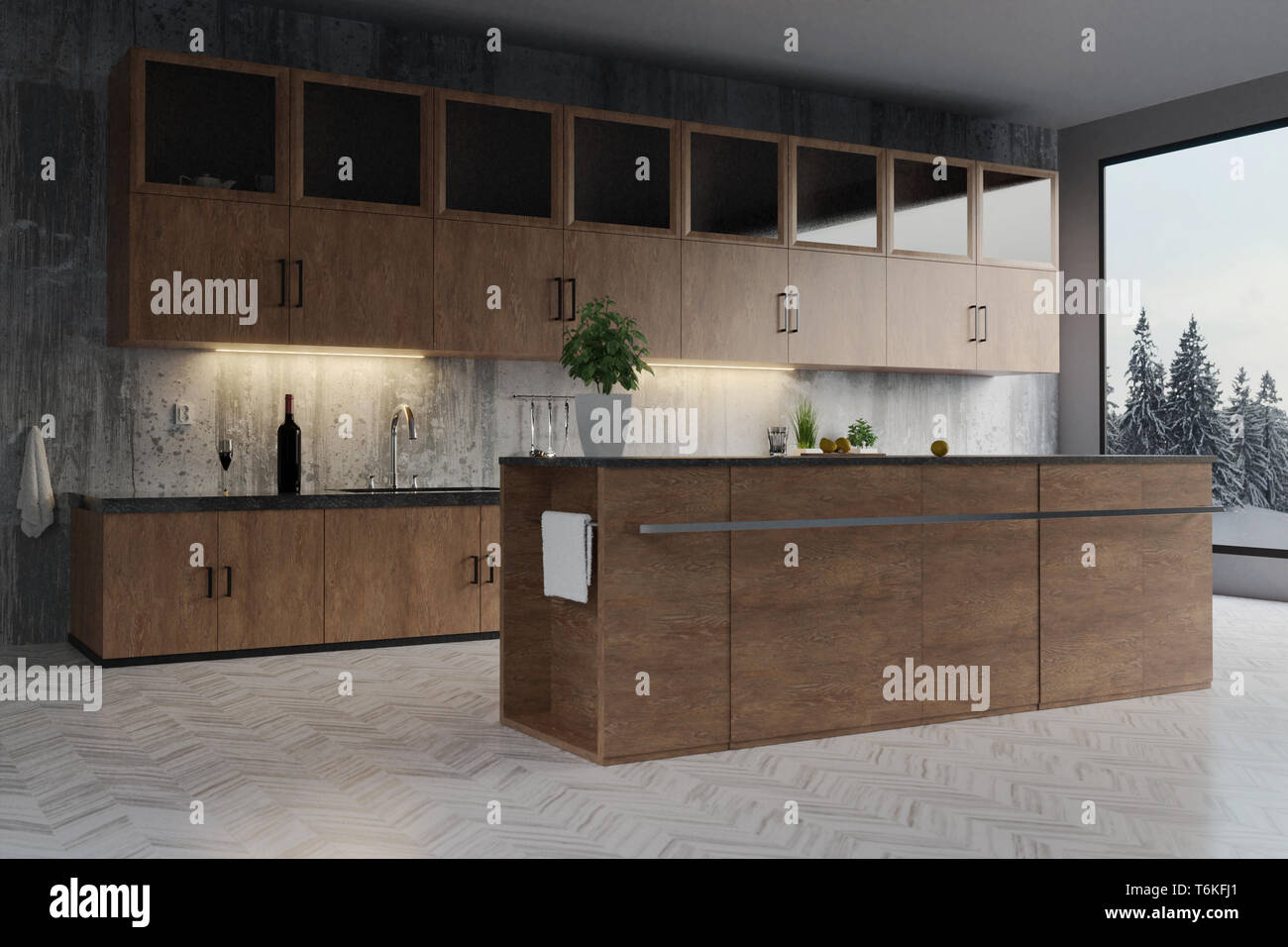 3d Rendering Of Modern Kitchen With Hardwood Cabinets And Concrete Wall Stock Photo Alamy,Colours That Go With Purple In A Bedroom