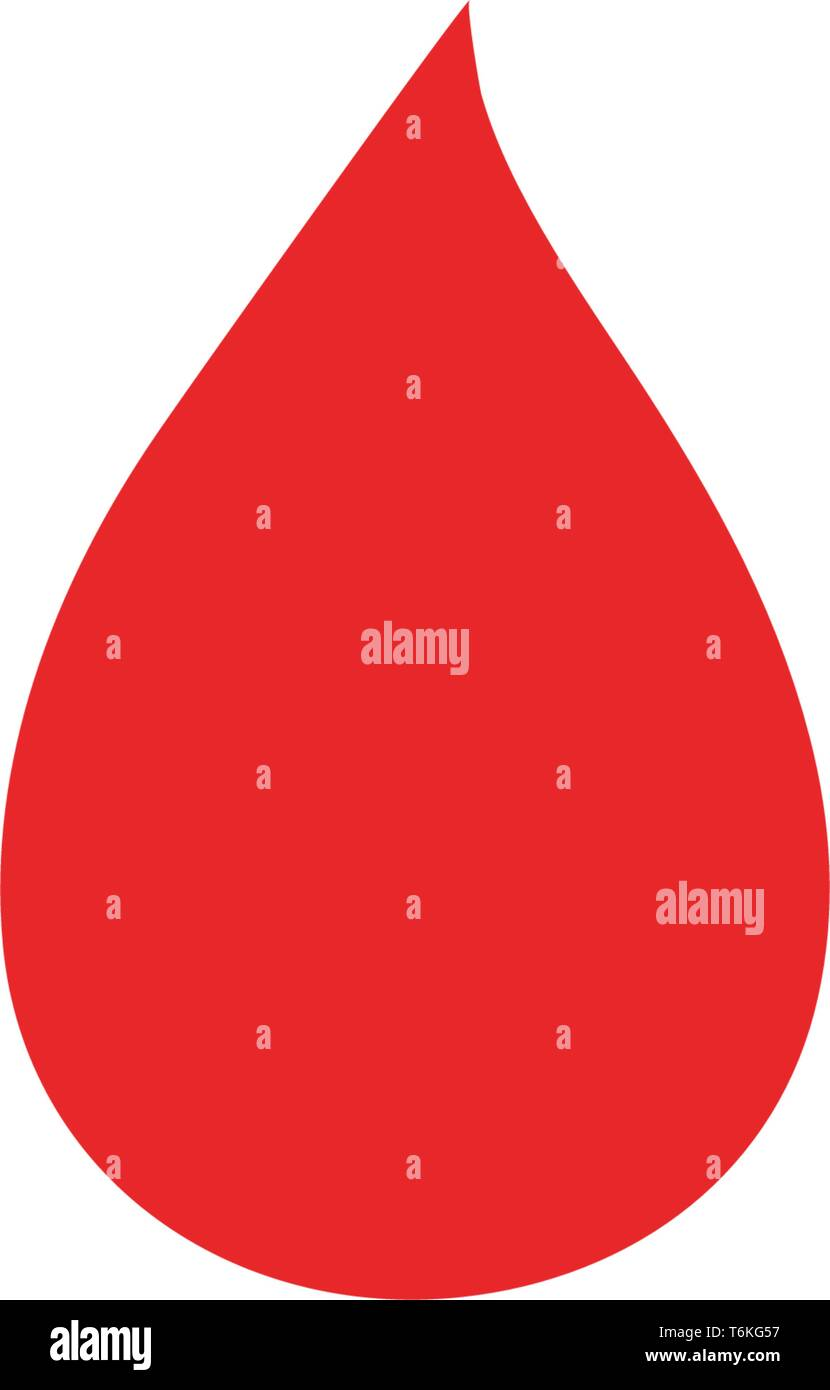Blood drop red vector icon - Stock Image