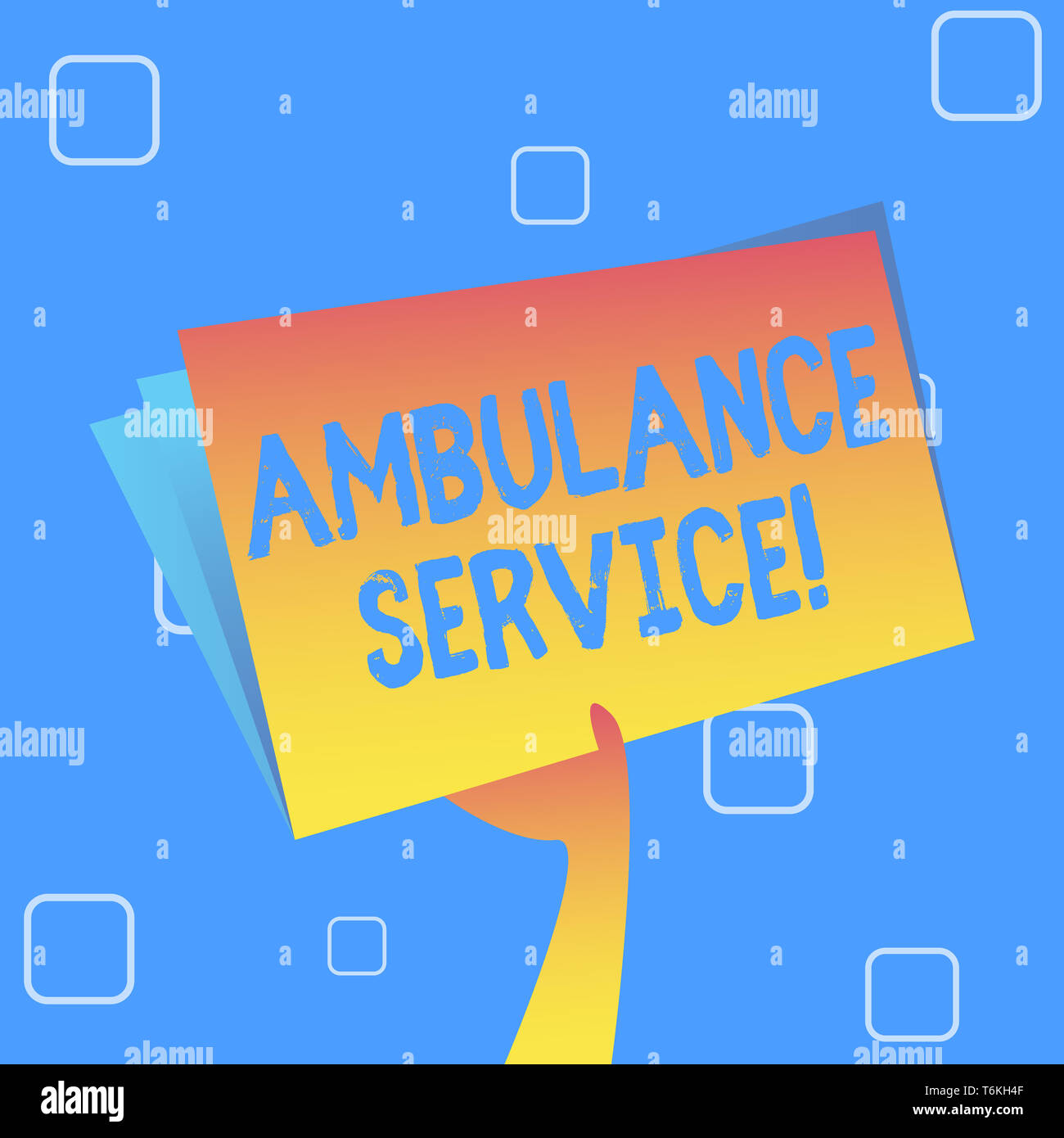 Handwriting text Ambulance Service. Conceptual photo emergency response wing of the National Health Service Hand Holding and Raising Blank Space Color - Stock Image