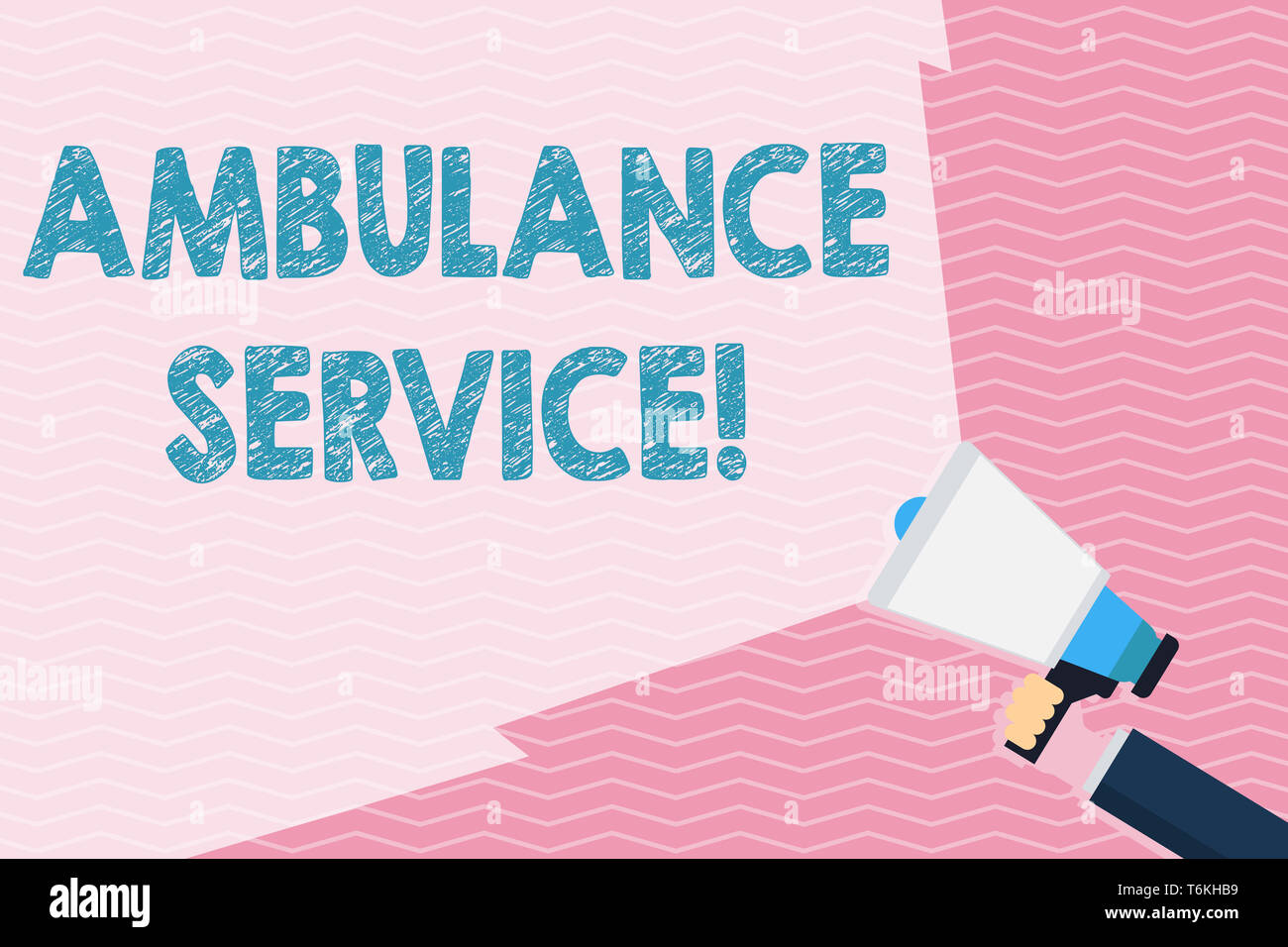 Writing note showing Ambulance Service. Business concept for emergency response wing of the National Health Service Hand Holding Megaphone with Beam E - Stock Image
