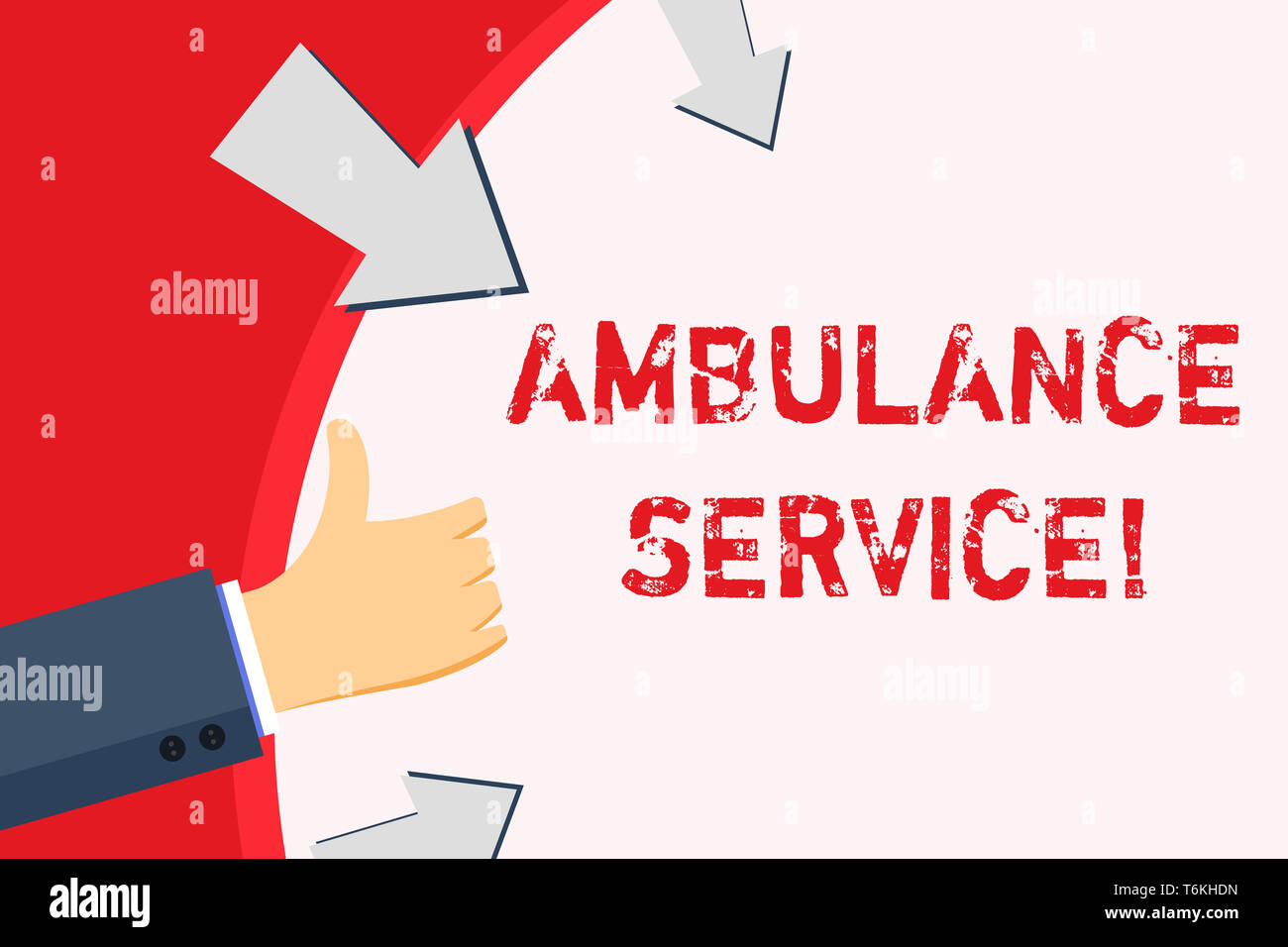 Handwriting text Ambulance Service. Conceptual photo emergency response wing of the National Health Service Hand Gesturing Thumbs Up and Holding on Bl - Stock Image