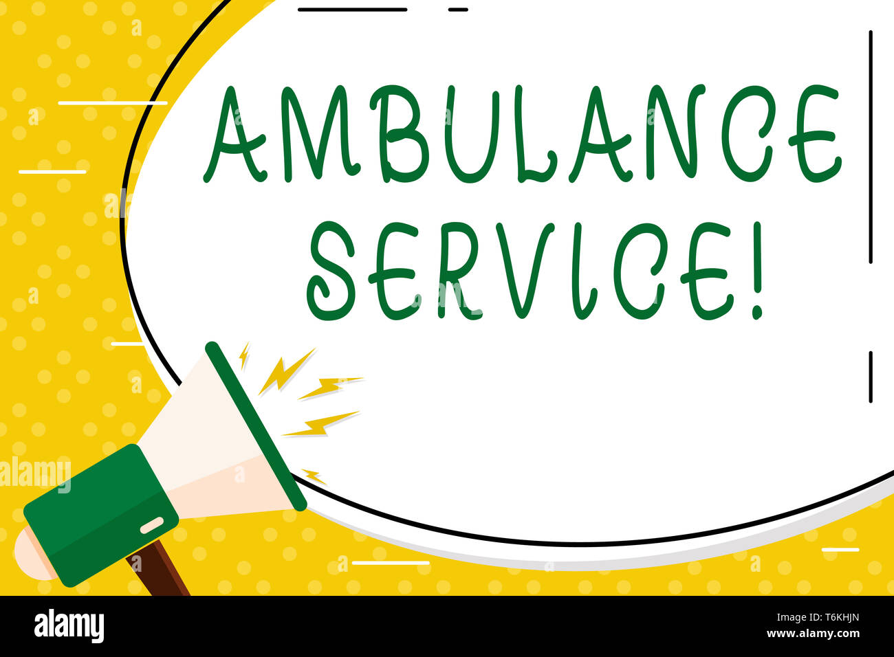 Writing note showing Ambulance Service. Business concept for emergency response wing of the National Health Service Oval Shape Sticker and Megaphone S - Stock Image