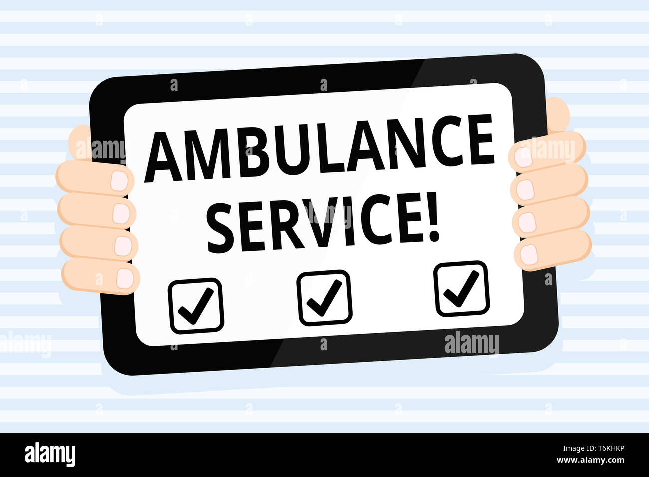 Writing note showing Ambulance Service. Business concept for emergency response wing of the National Health Service Color Tablet Smartphone with Scree - Stock Image