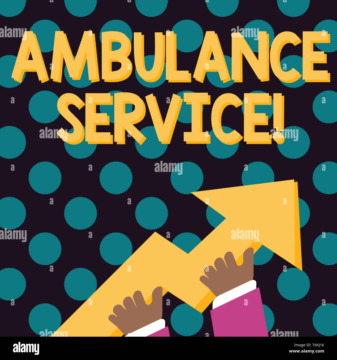 Word writing text Ambulance Service. Business photo showcasing emergency response wing of the National Health Service photo of Hand Holding Colorful H - Stock Image