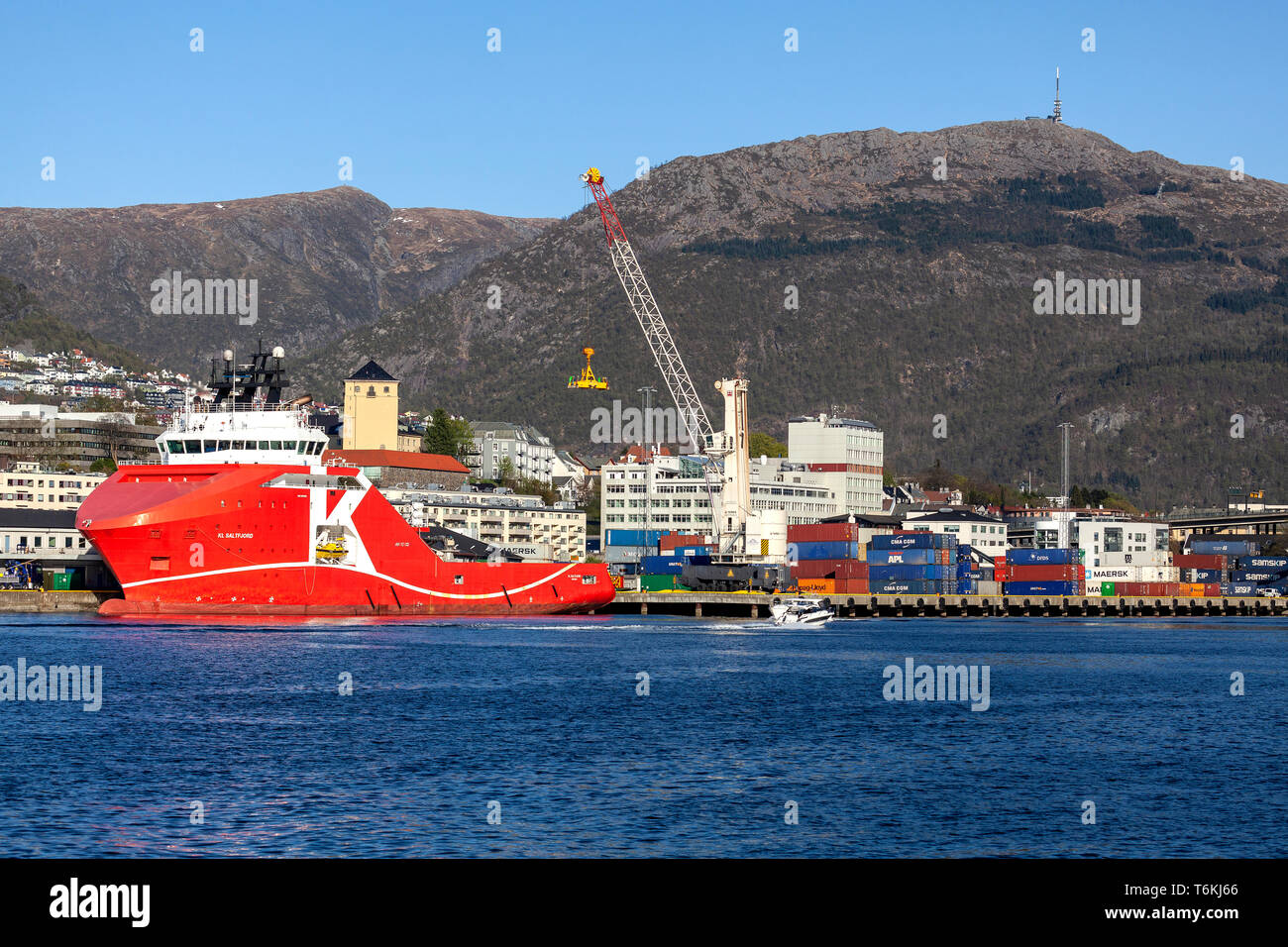 Offshore AHTS anchor handling tug supply vessel KL Saltfjord, berthed at Dokkeskjaerskaien (Dokkeskjærskaien) terminal in the port of Bergen, Norway.  - Stock Image