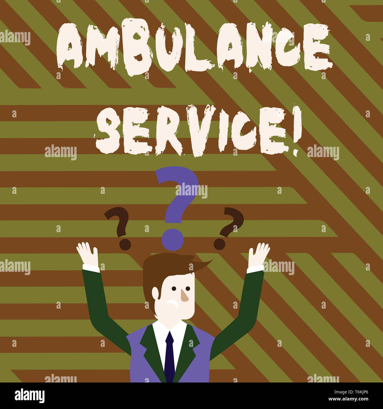 Conceptual hand writing showing Ambulance Service. Concept meaning emergency response wing of the National Health Service Businessman Raising Both Arm - Stock Image