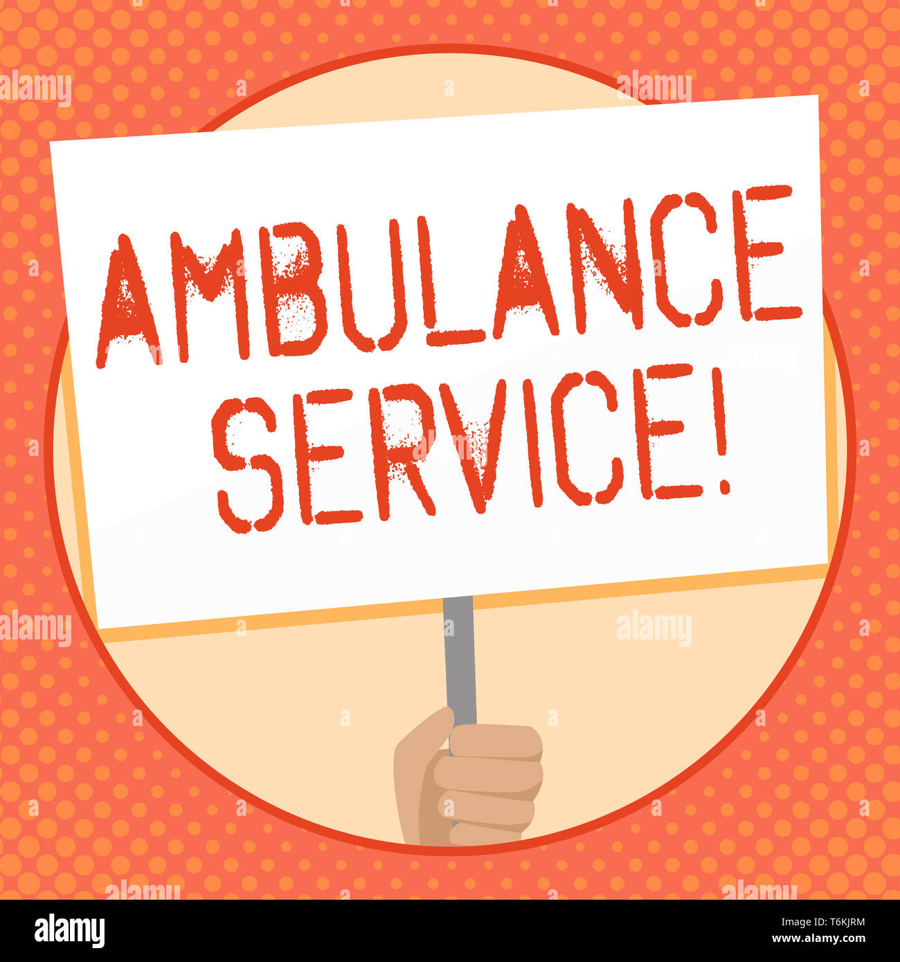 Writing note showing Ambulance Service. Business concept for emergency response wing of the National Health Service Hand Holding White Placard Support - Stock Image