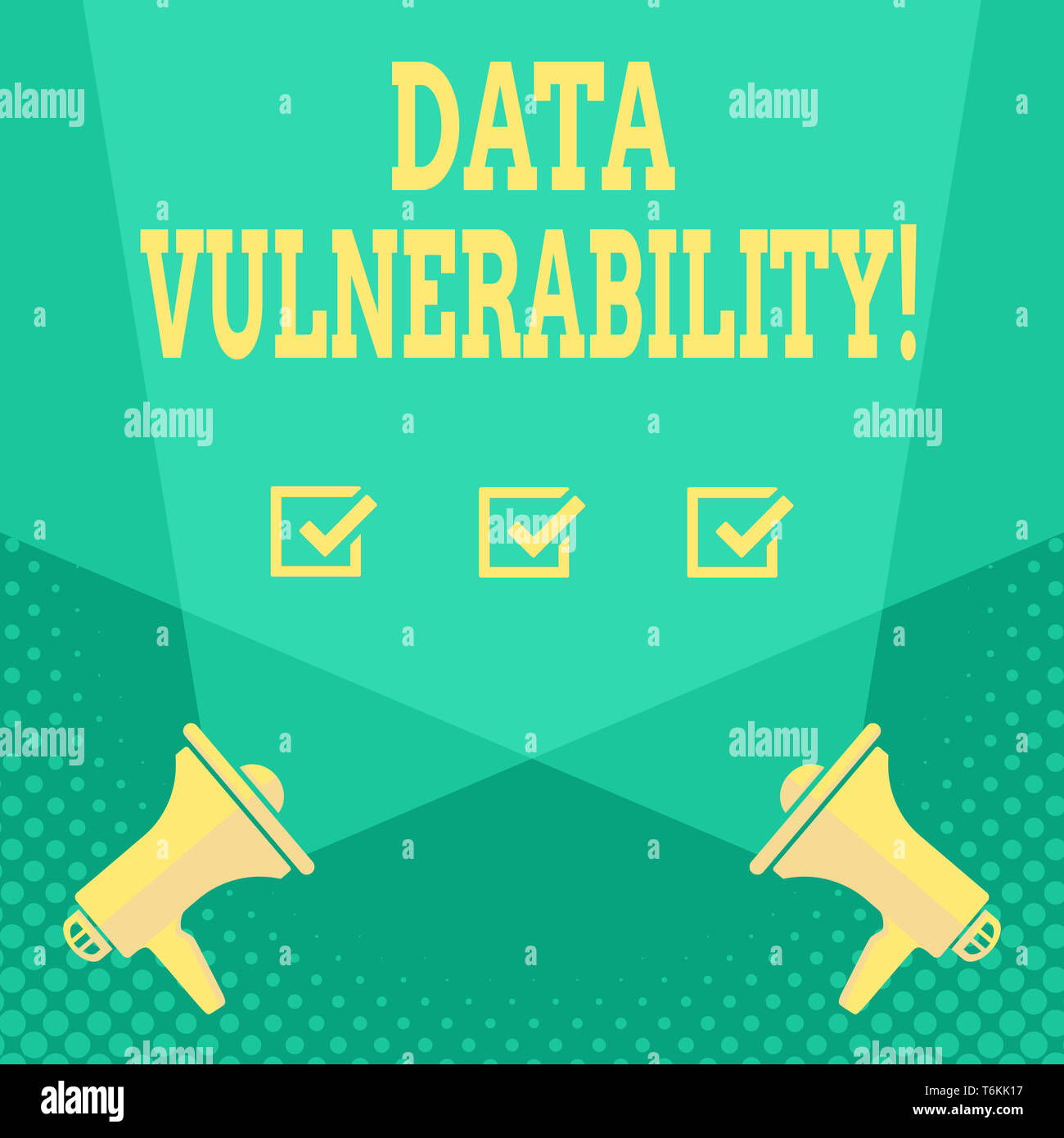 Handwriting text Data Vulnerability. Conceptual photo weakness of a data which can be exploited by an attacker Blank Double Spotlight Crisscrossing Up - Stock Image