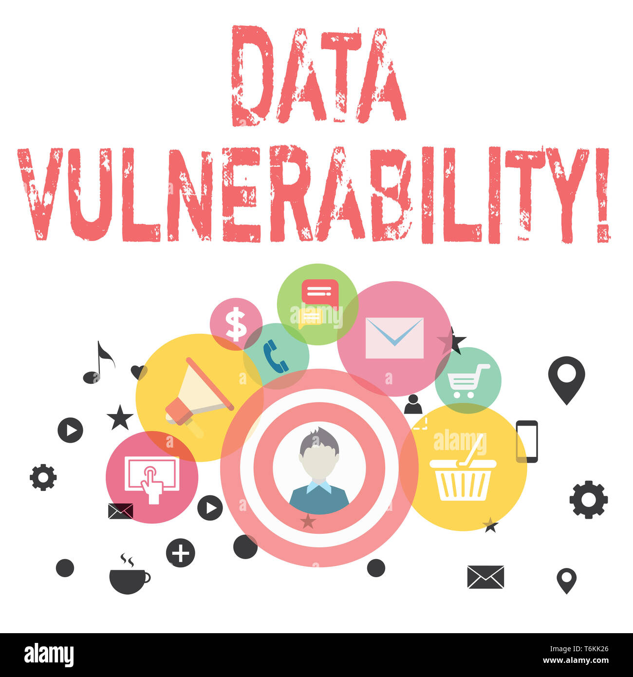 Text sign showing Data Vulnerability. Business photo showcasing weakness of a data which can be exploited by an attacker photo of Digital Marketing Ca - Stock Image
