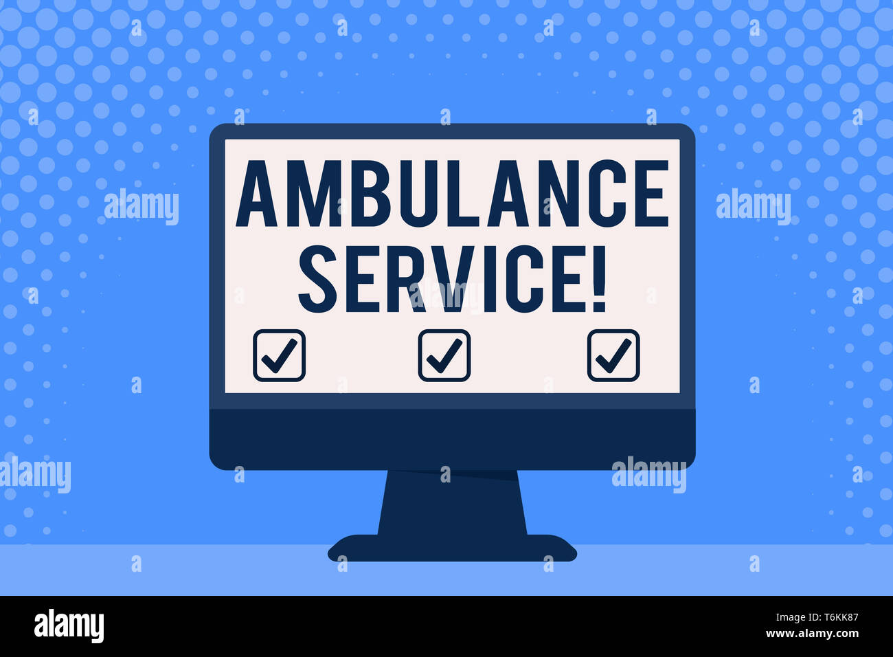 Conceptual hand writing showing Ambulance Service. Concept meaning emergency response wing of the National Health Service Desktop Computer Colorful Mo - Stock Image
