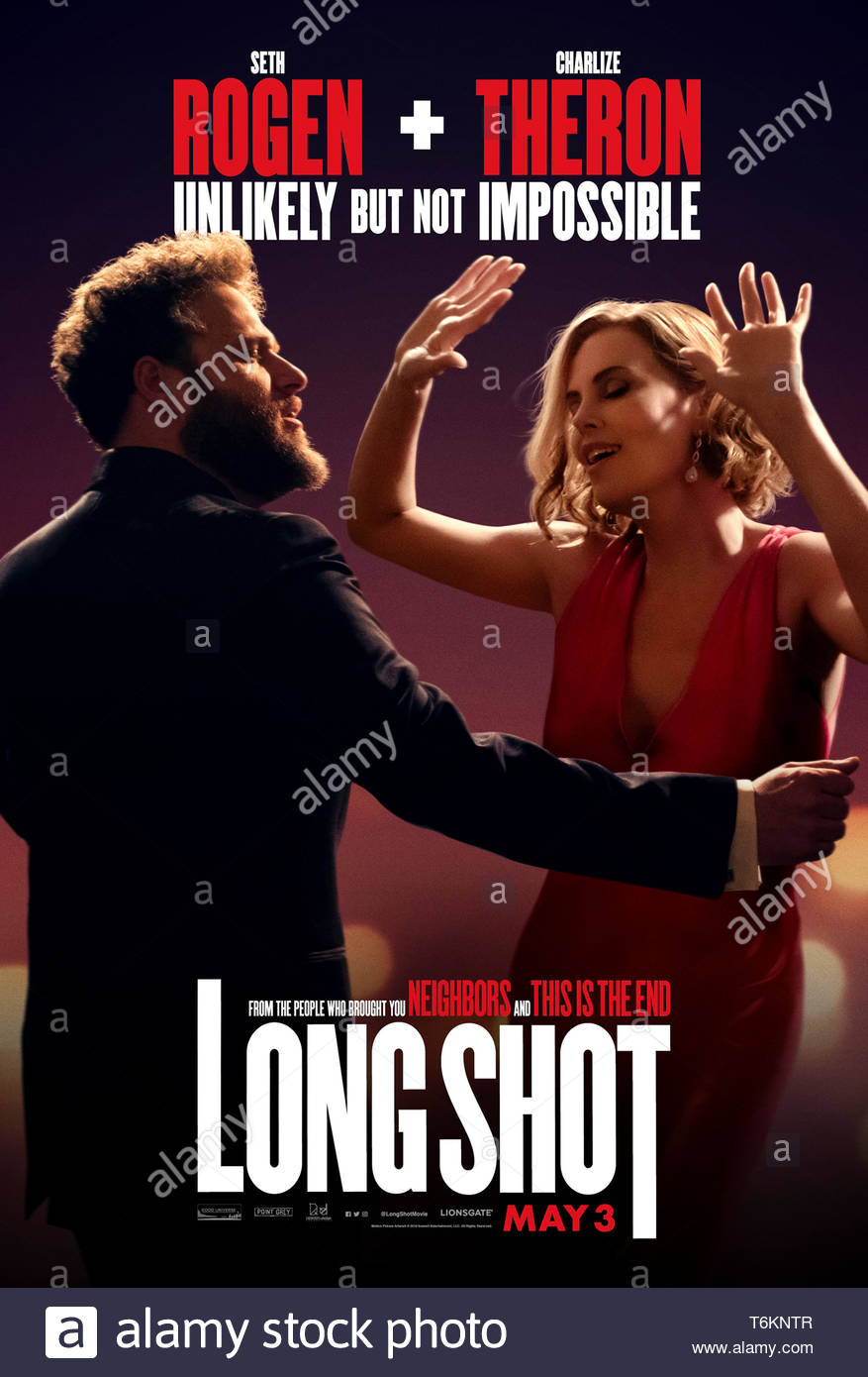 Long Shot (2019) directed by Jonathan Levine and starring Charlize Theron, Seth Rogen and June Diane Raphael. A journalist reunites with his first crush as her speech writer as she prepares to run for the US Presidency. Stock Photo