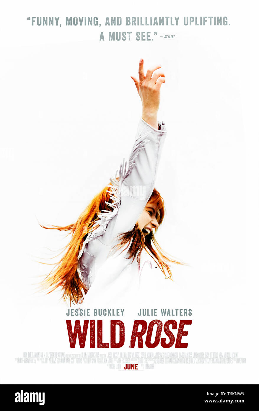 Wild Rose (2018) directed by Tom Harper and starring Julie Walters, Jessie Buckley, and Craig Parkinson. A Glaswegian girl dreams of becoming a country singer in Nashville. - Stock Image