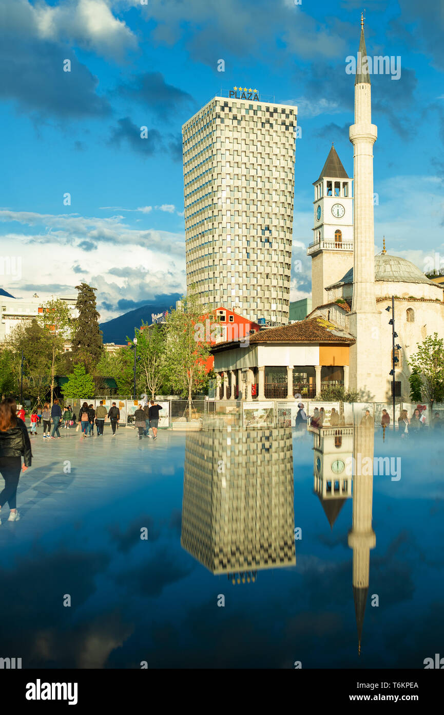 Newly reconstructed city central Skanderbeg square, citizens walking at pedestrian zone. - Stock Image