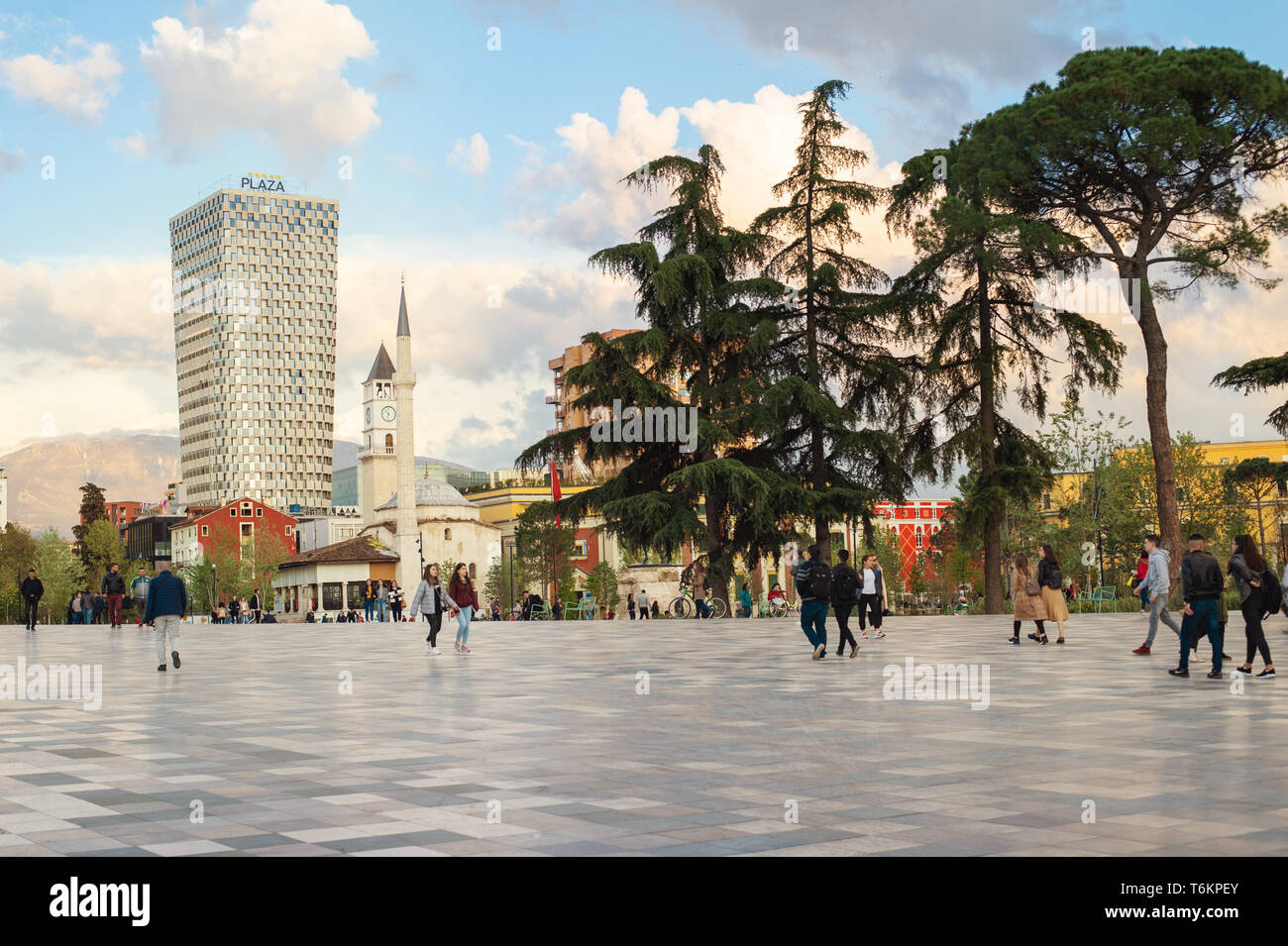 The Skanderbeg Square is the main plaza in the centre of Tirana - Stock Image