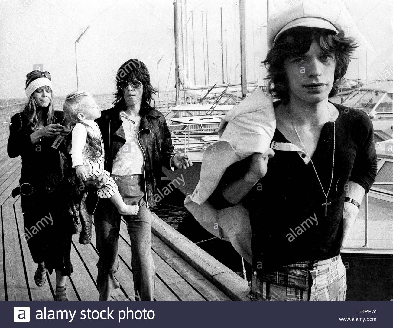 Mick Jagger And Keith Richards Of Rolling Stones With Keith 'S Girlfriend Anita Pallenberg And Their Child In Sweden 8-31-1970 Credit: 370731Globe Photos/MediaPunch - Stock Image