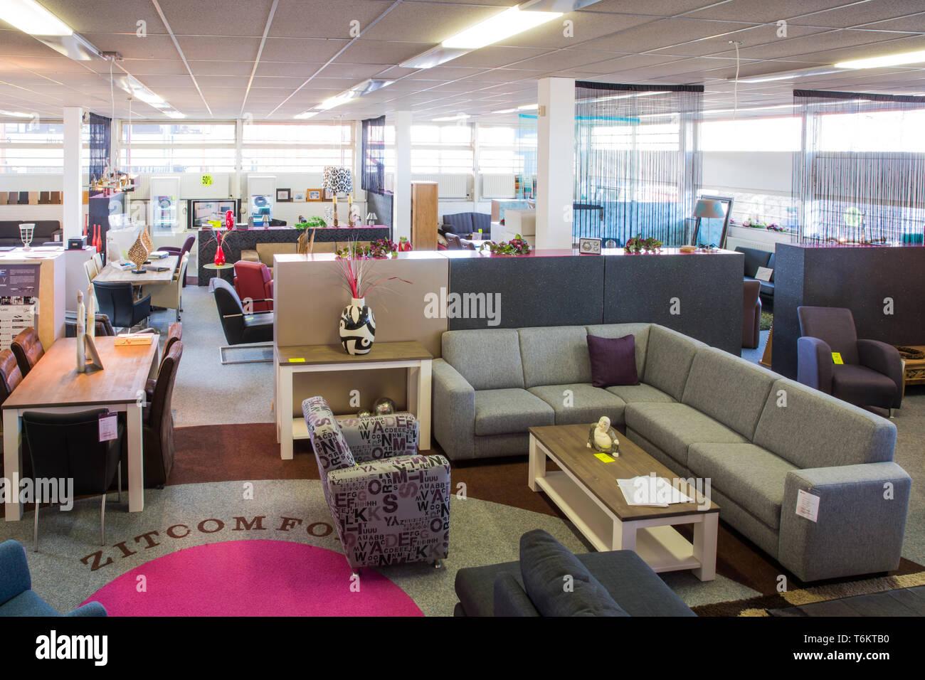 showroom of modern furniture store stock image