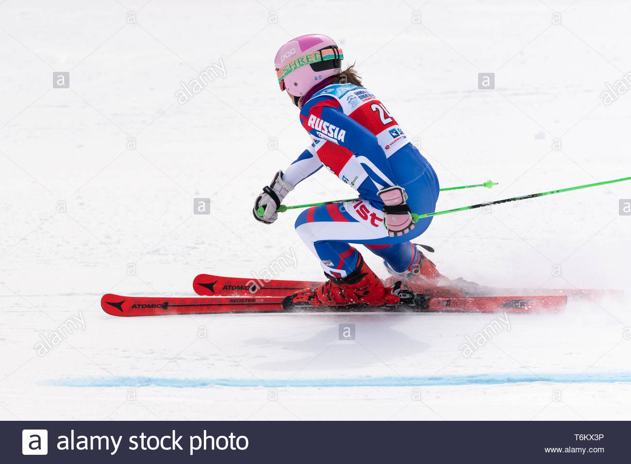KAMCHATKA, RUSSIA - APR 2, 2019: International Ski Federation Championship, Russian Women's Alpine Skiing Cup, giant slalom. Mountain skier Girina Vit - Stock Image