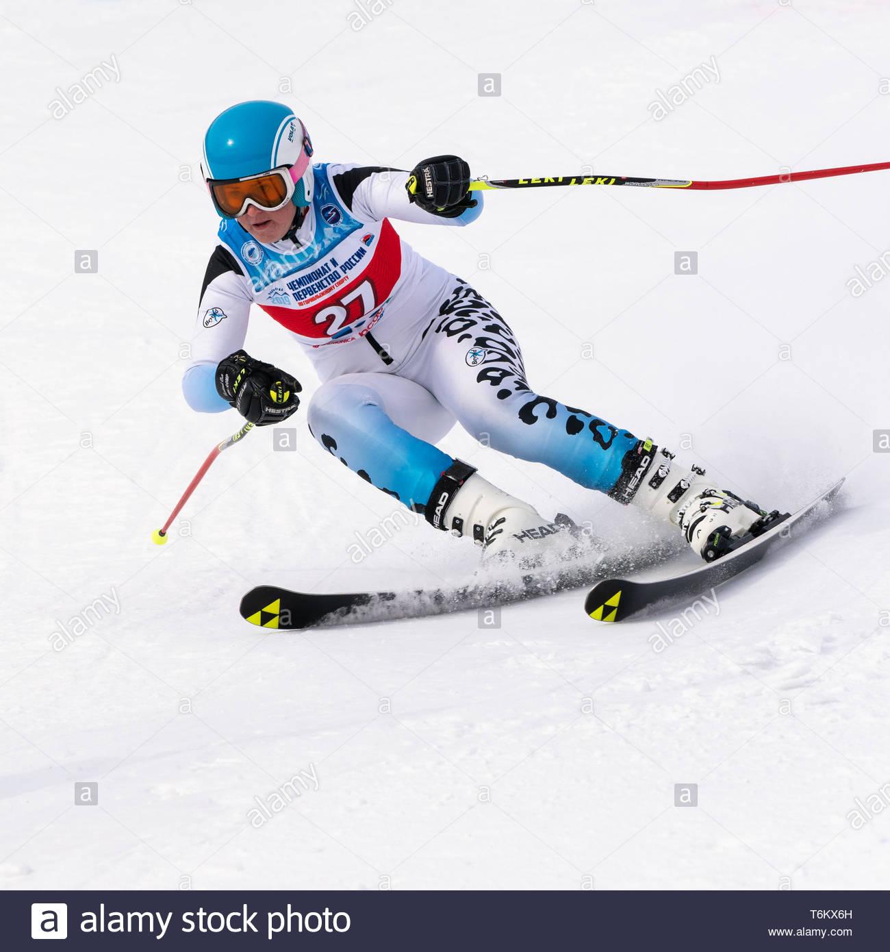 KAMCHATKA PENINSULA, RUSSIA - APR 2, 2019: Mountain skier Gavrish Veronika (Murmansk) skiing down mount slope. Russian Women's Alpine Skiing Cup, Inte - Stock Image