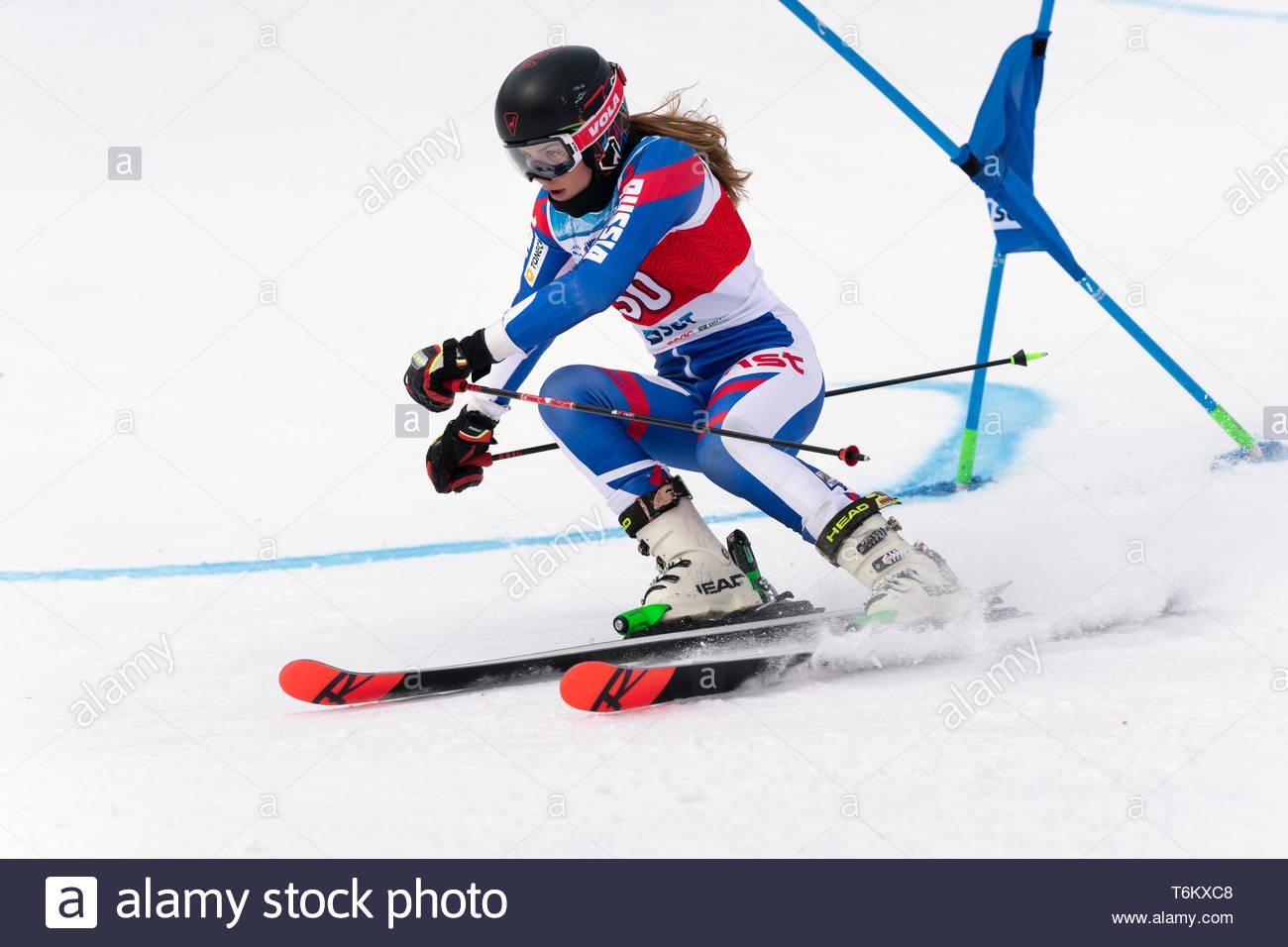 KAMCHATKA, RUSSIA - APRIL 2, 2019: Mountain skier Ulyana Lendya (Kamchatka Peninsula) skiing down mount slope. Russian Women's Alpine Skiing Cup, Inte - Stock Image