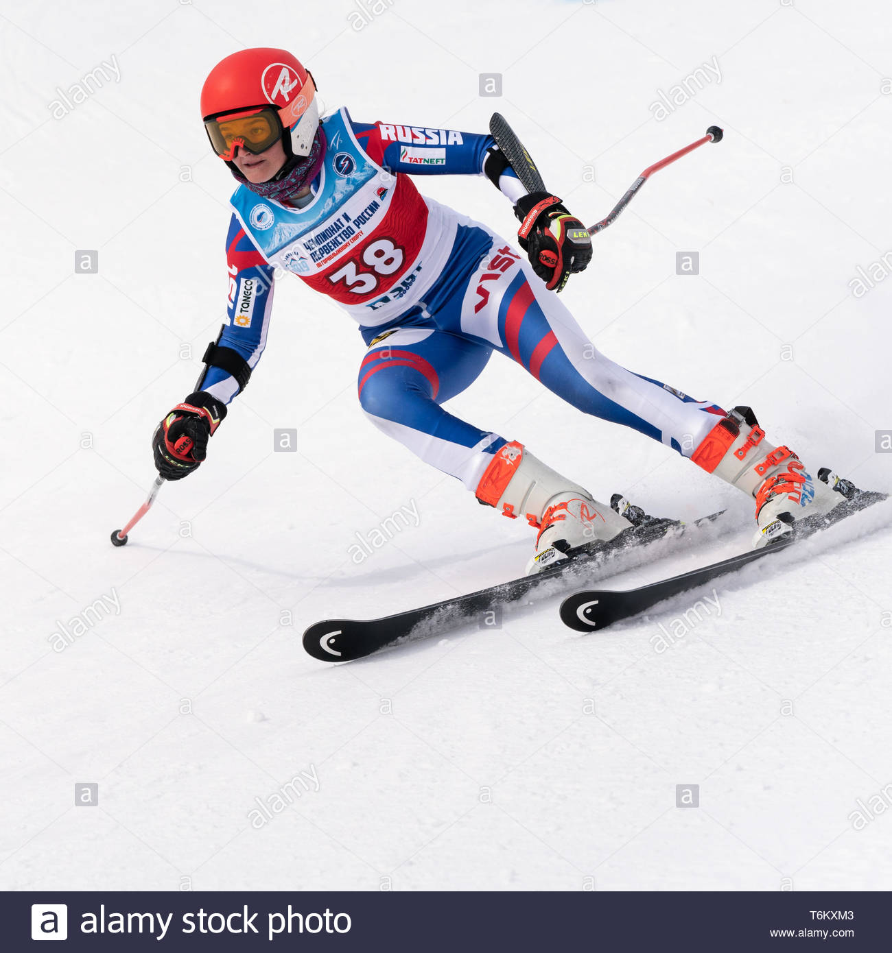 KAMCHATKA PENINSULA, RUSSIA - APRIL 2, 2019: Mountain skier Sofya Arkhipova (Sverdlovsk) skiing down mount. Russian Women's Alpine Skiing Cup, Interna - Stock Image