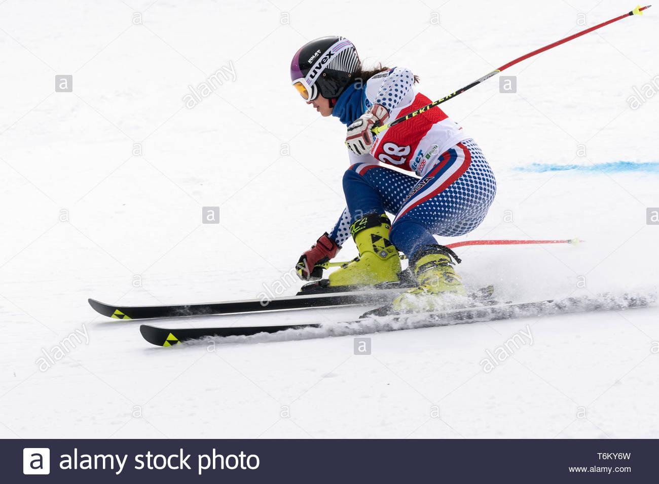 KAMCHATKA PENINSULA, RUSSIA - APRIL 2, 2019: Russian Women's Alpine Skiing Cup, International Ski Federation Championship - giant slalom. Mountain ski - Stock Image