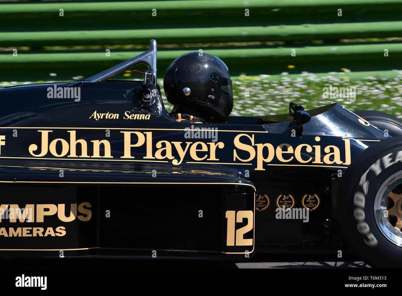 Imola, 27 April 2019: Historic 1985 F1 Lotus 97T/4 John Player Special ex Ayrton Senna in action during Minardi Historic Day 2019 at Imola Circuit in  - Stock Image