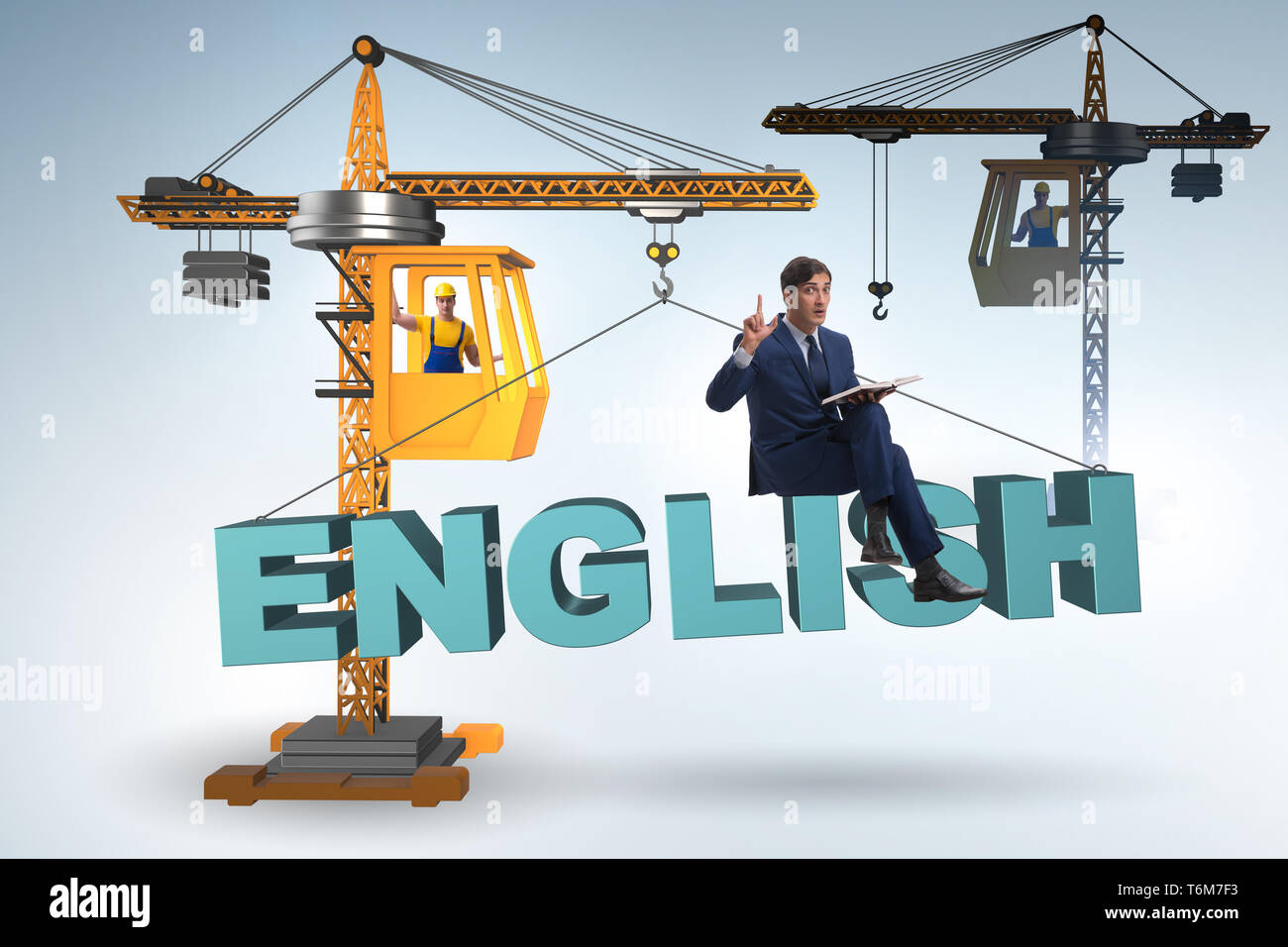 Young man in english language training - Stock Image